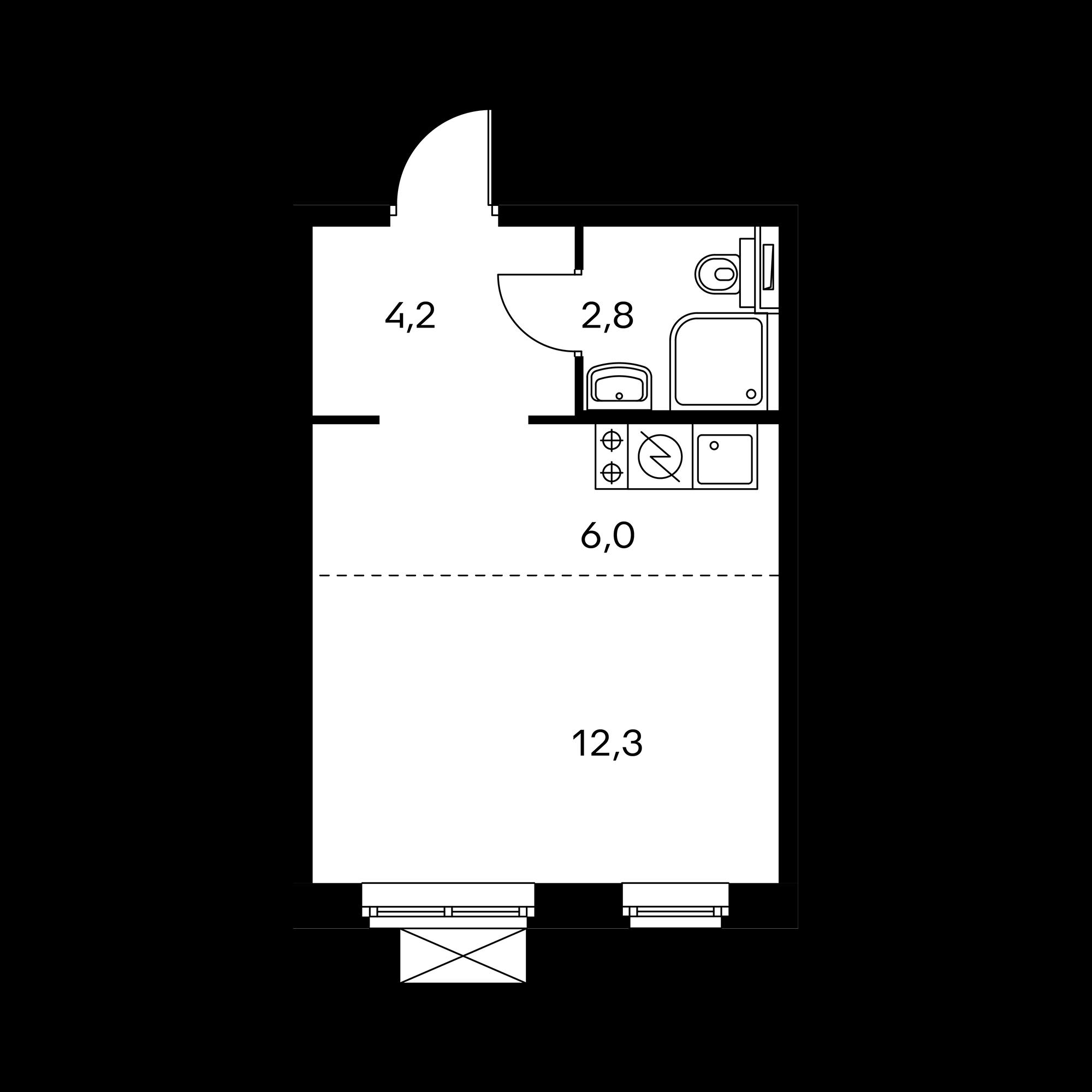 Студия 25.3  м²