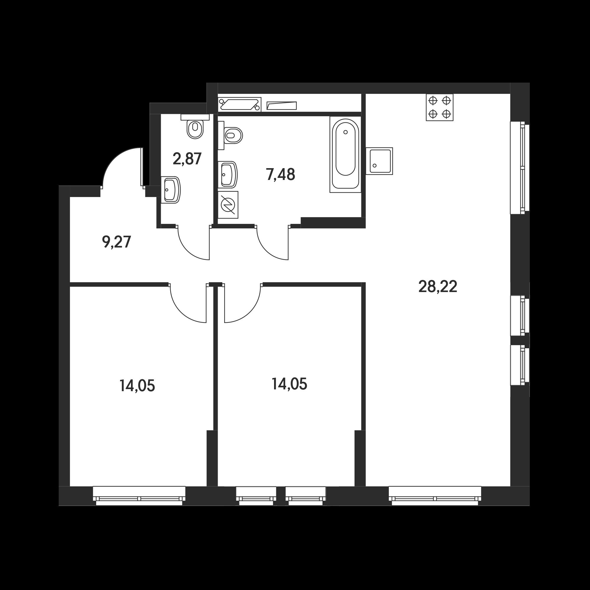 2-комнатная 75.7  м²