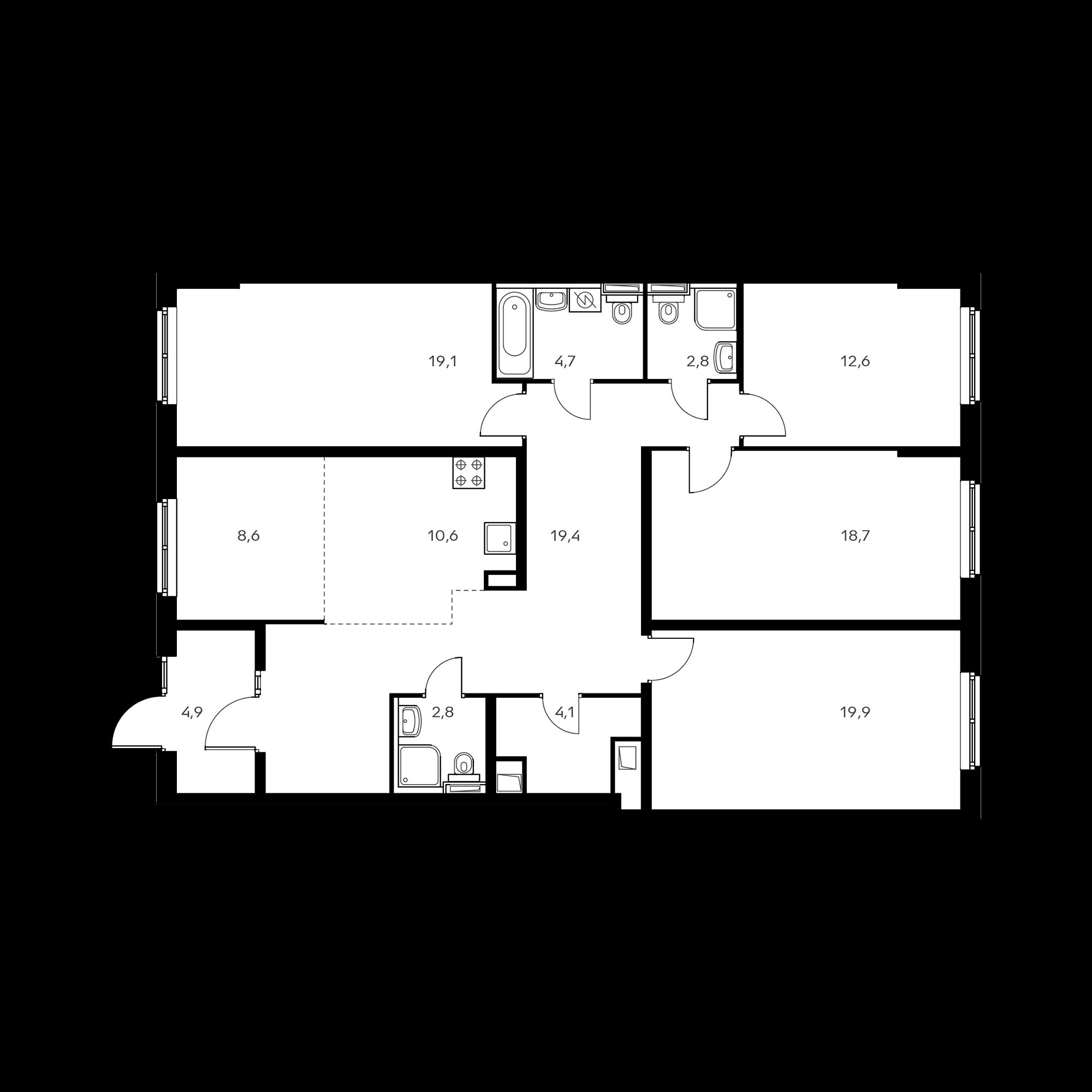 5-комнатная 135.4 м²
