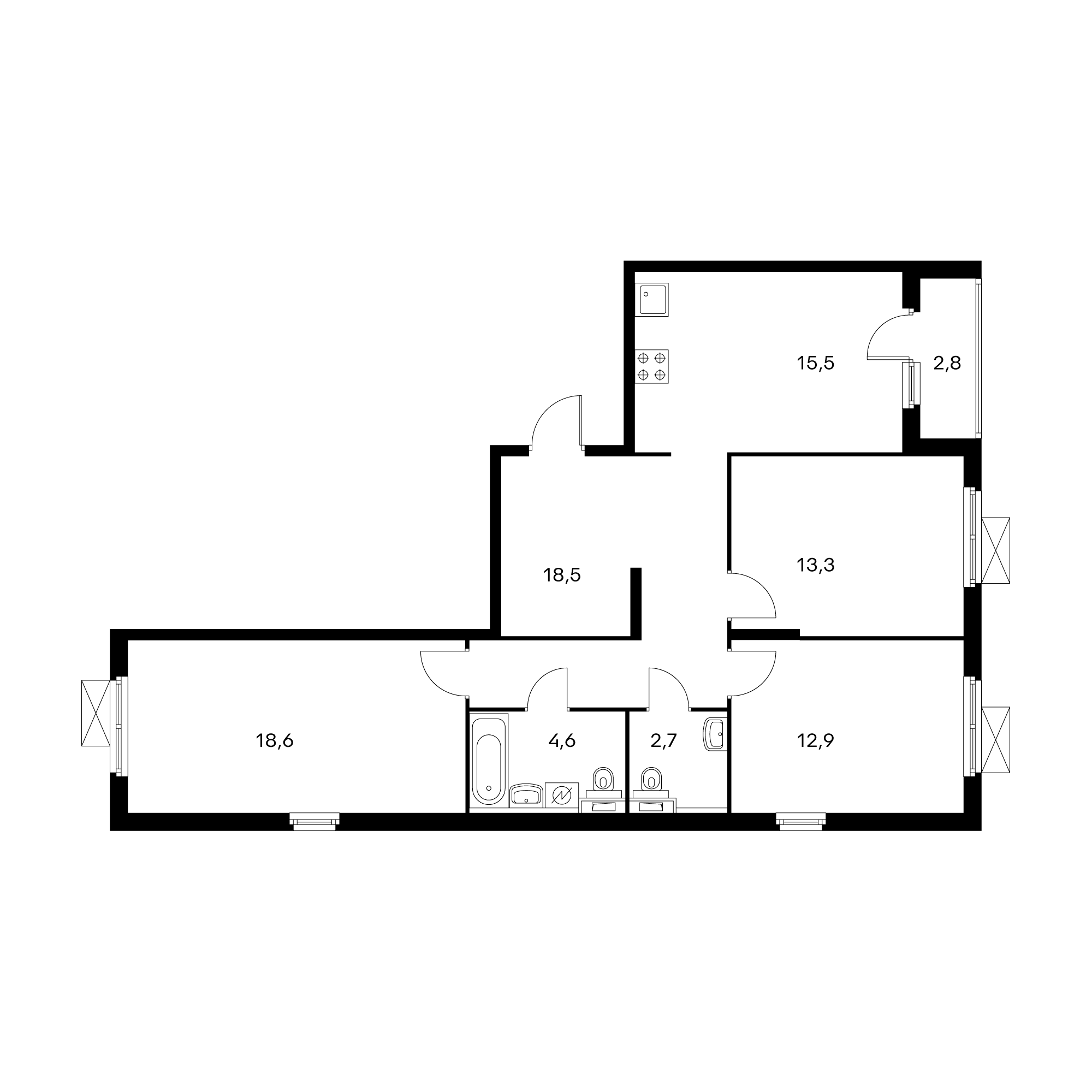 3-комнатная 87.9 м²