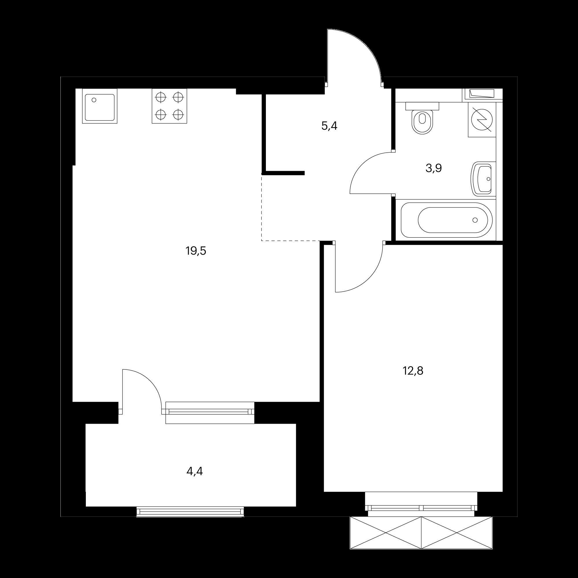 1-комнатная 43.8 м²