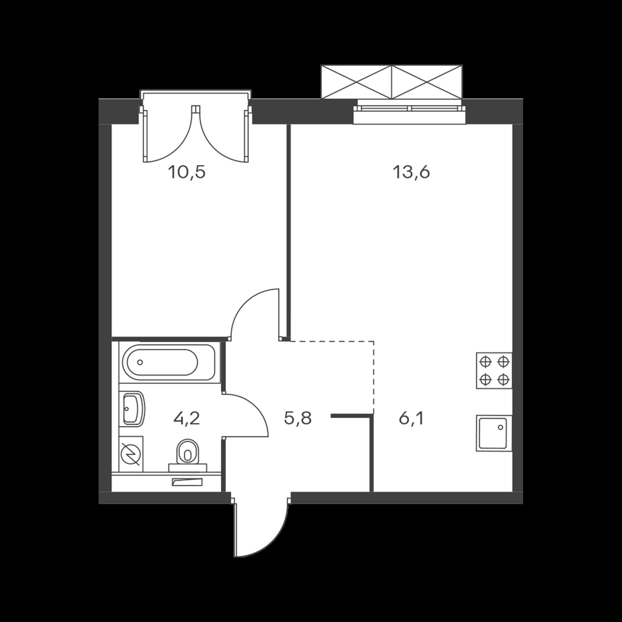 2-комнатная 40.2 м²