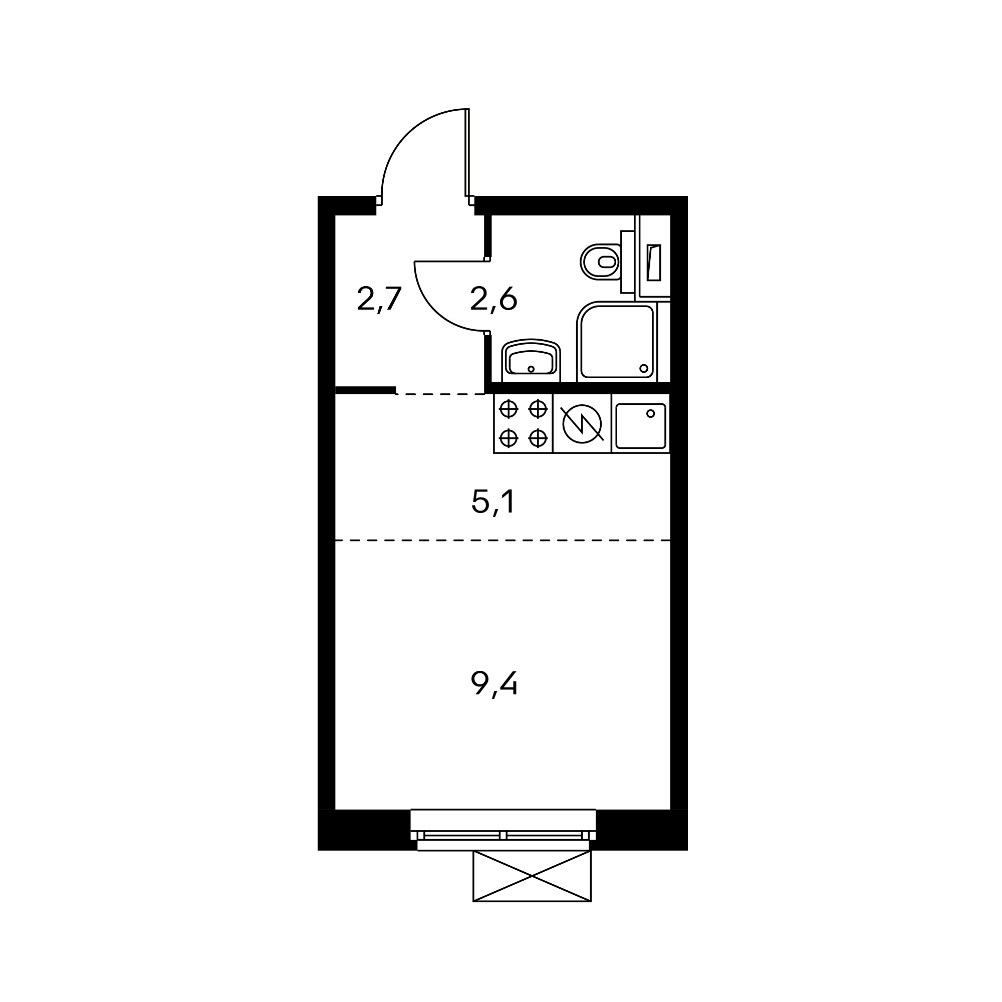 Студия 20.3  м²