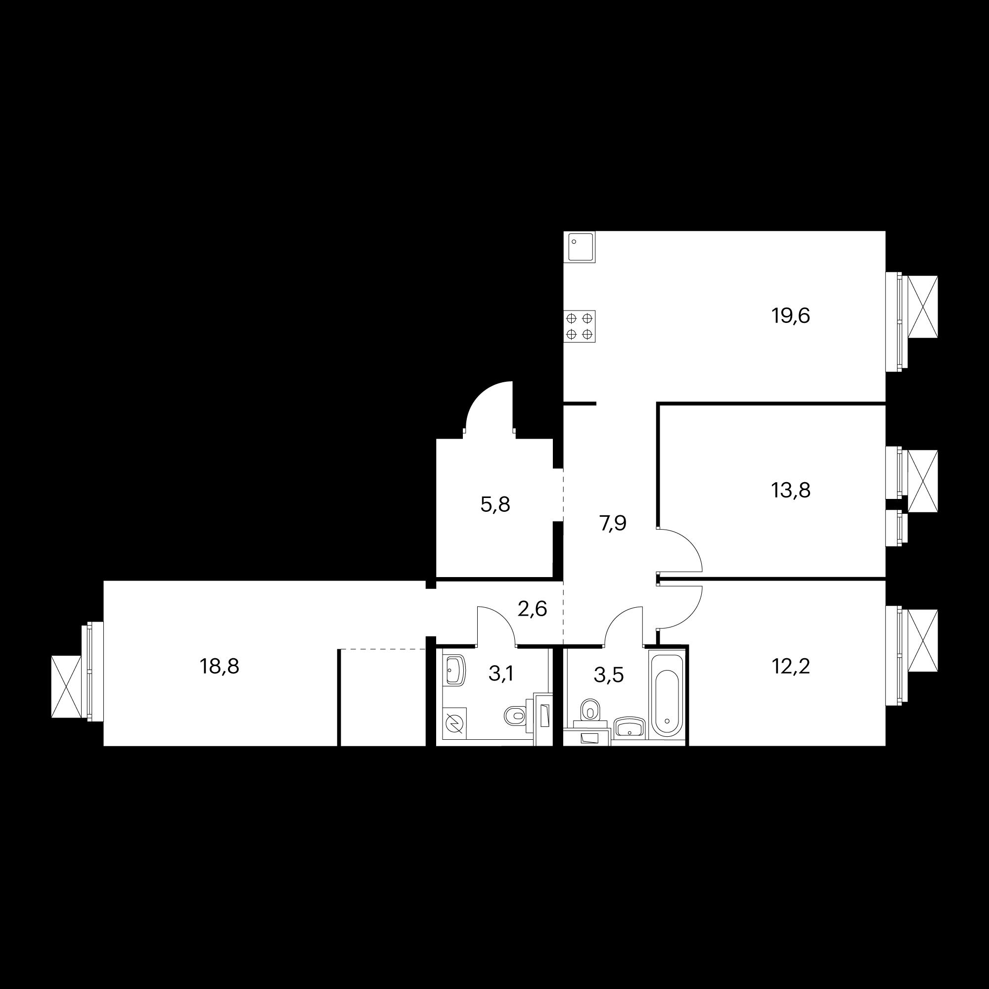 3-комнатная 87.3 м²