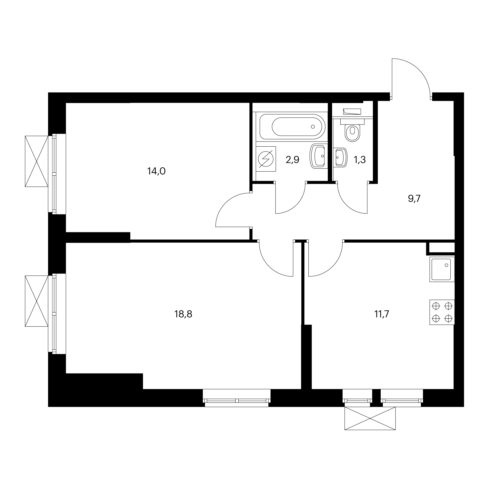 2-комнатная 58.4 м²