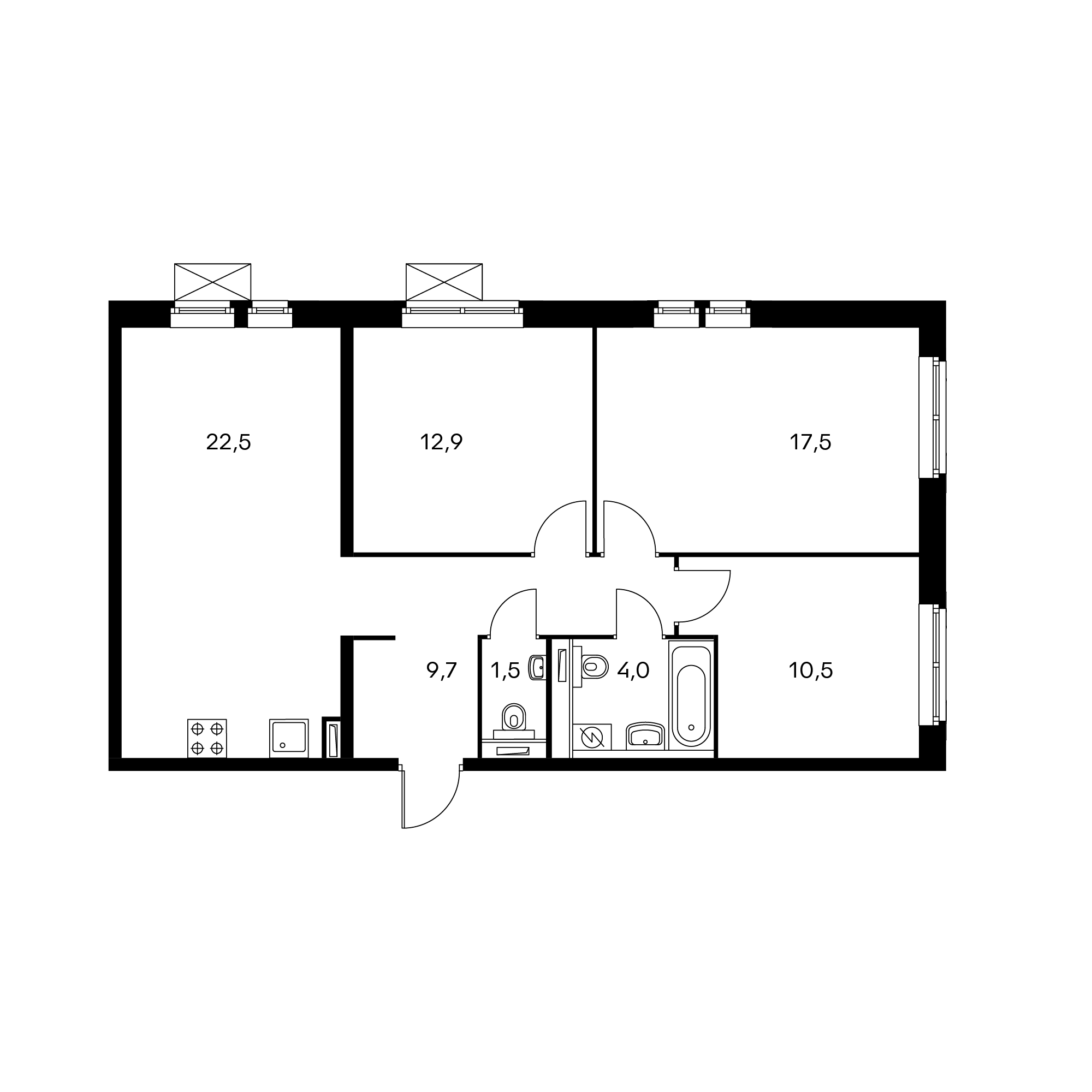 3-комнатная 78.6 м²