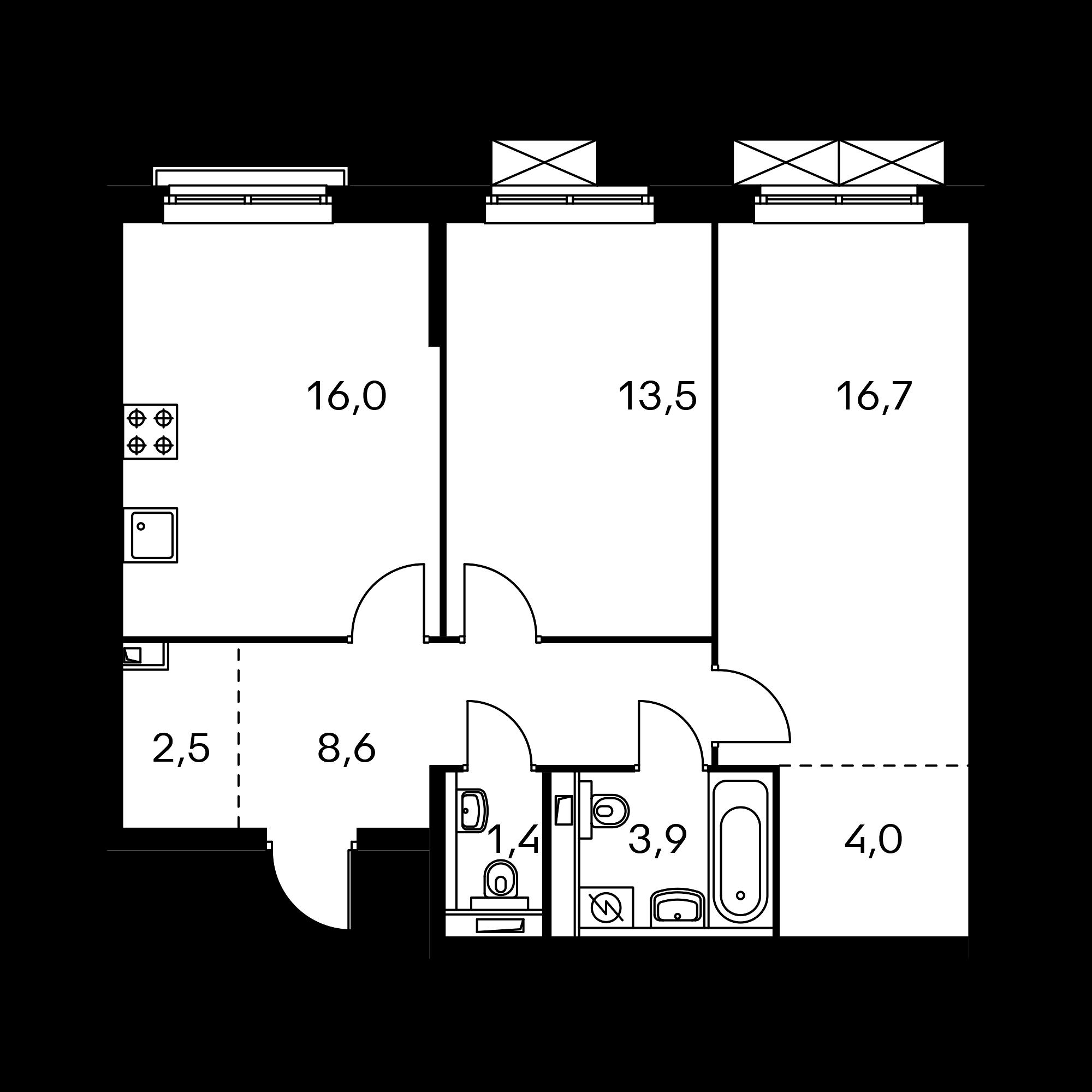 2-комнатная 66.6  м²