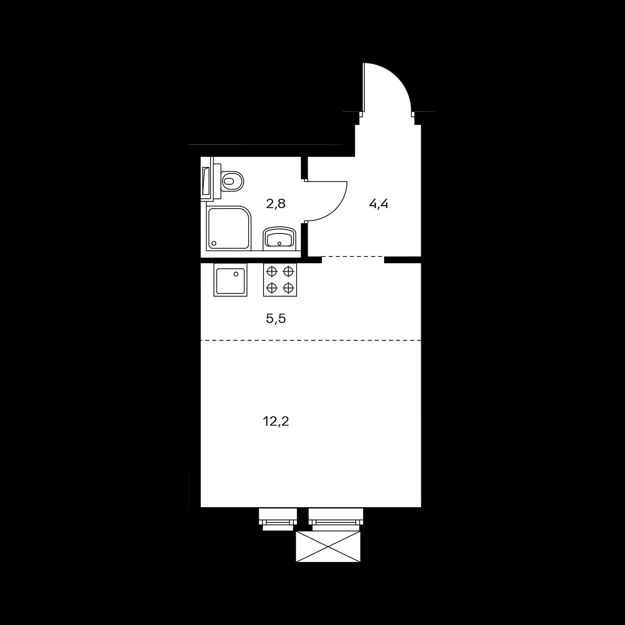 Студия 24.9  м²