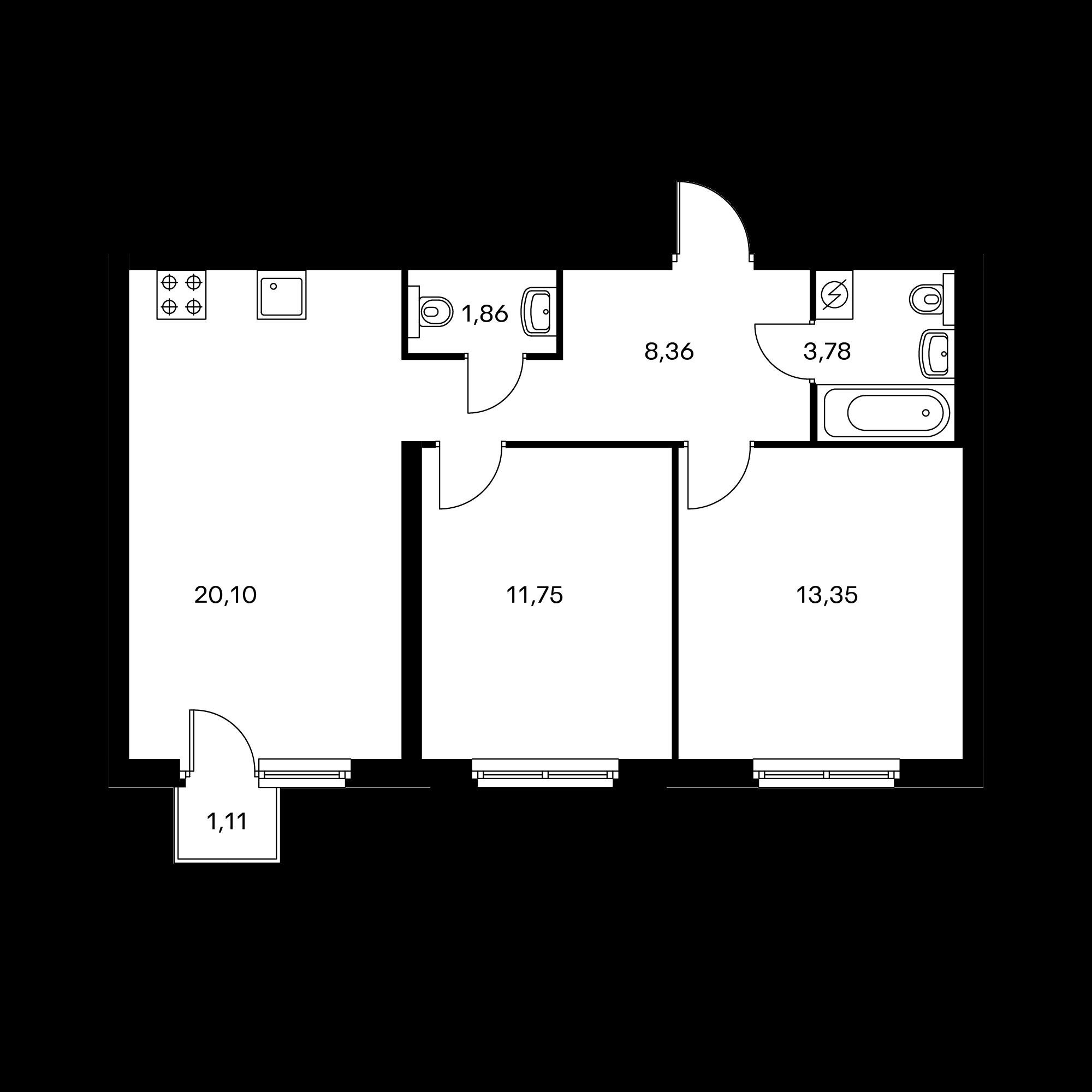 2-комнатная 59.53 м²