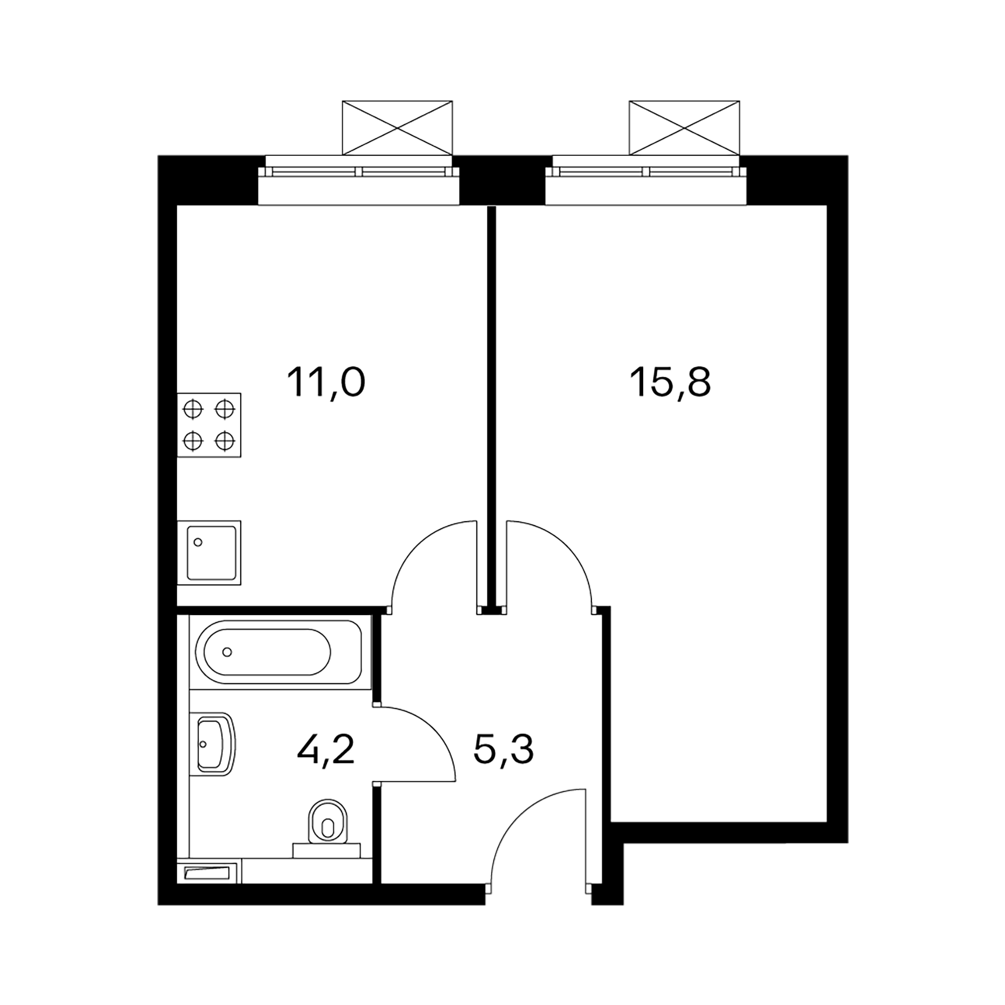 1-комнатные 36.2  м²