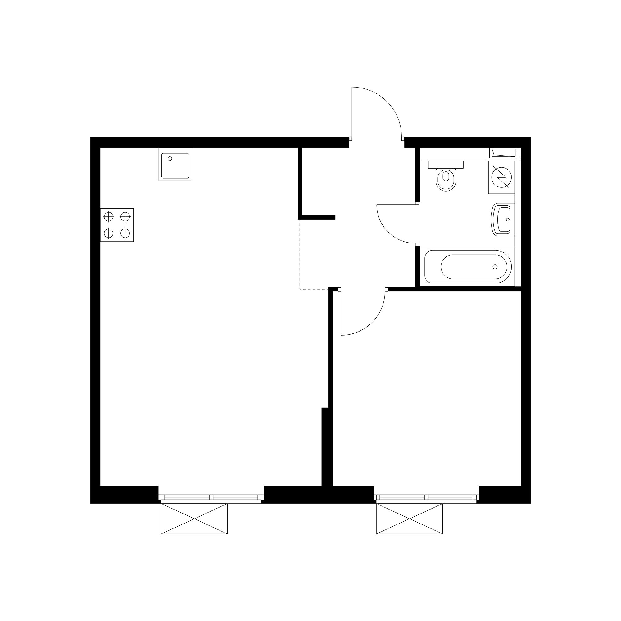 1-комнатная 44.94  м²