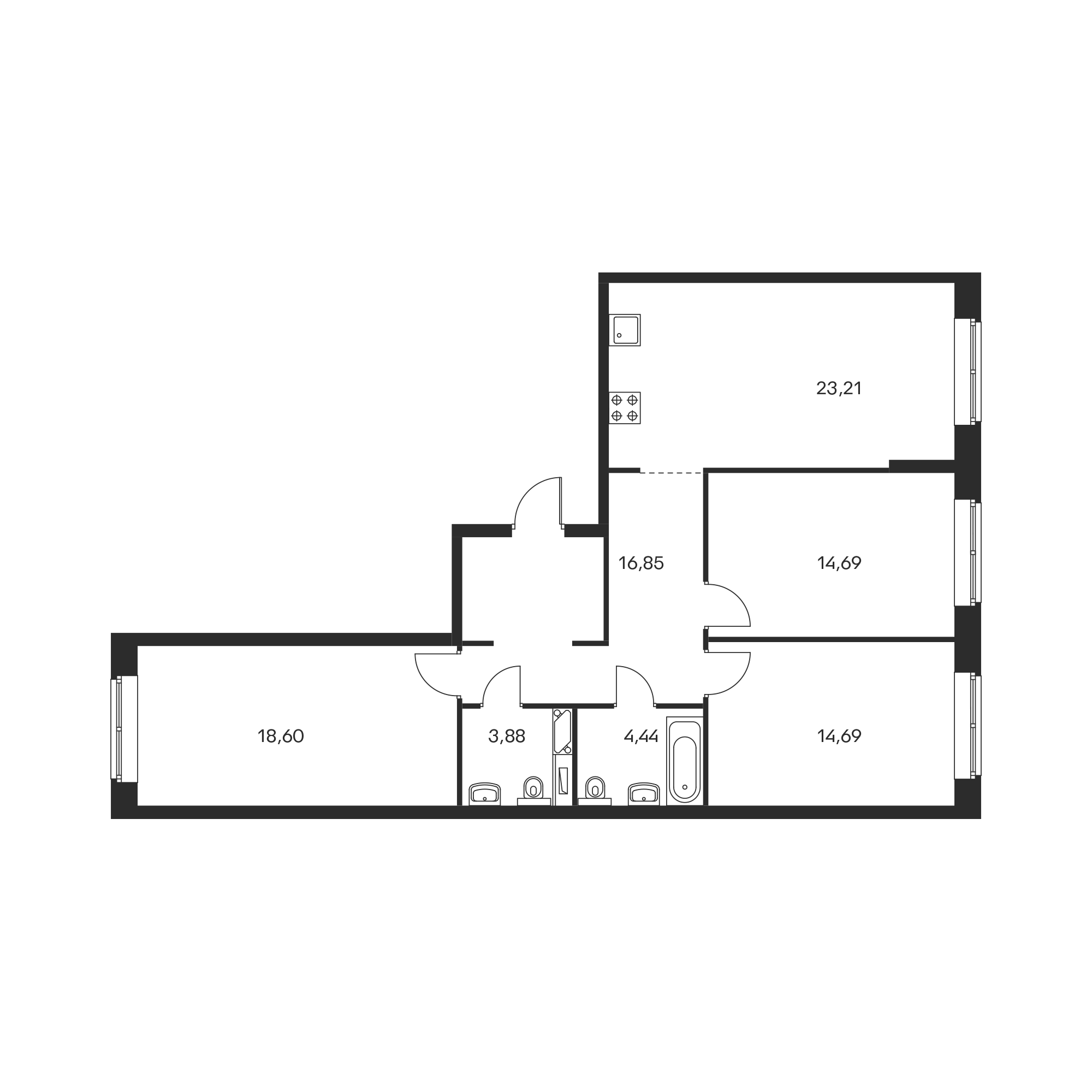 3-комнатная 96.36  м²