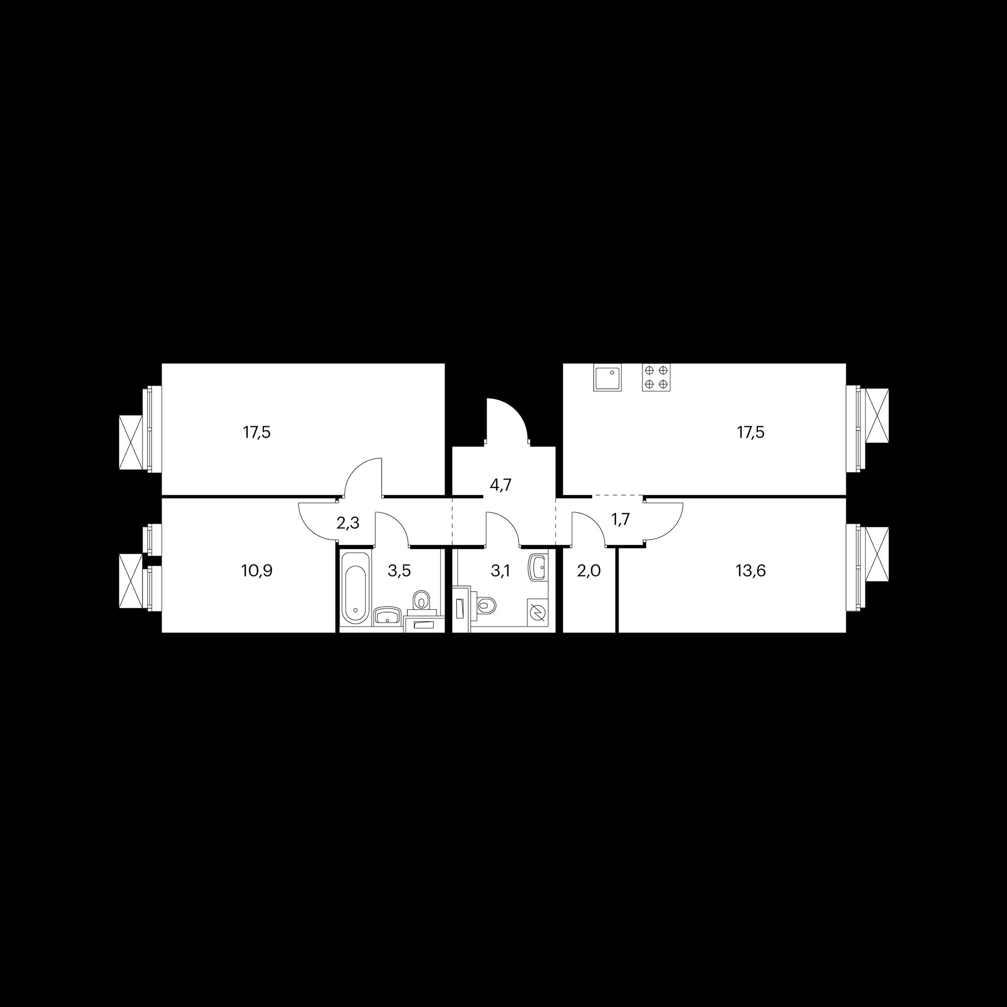 3-комнатная 77.2  м²