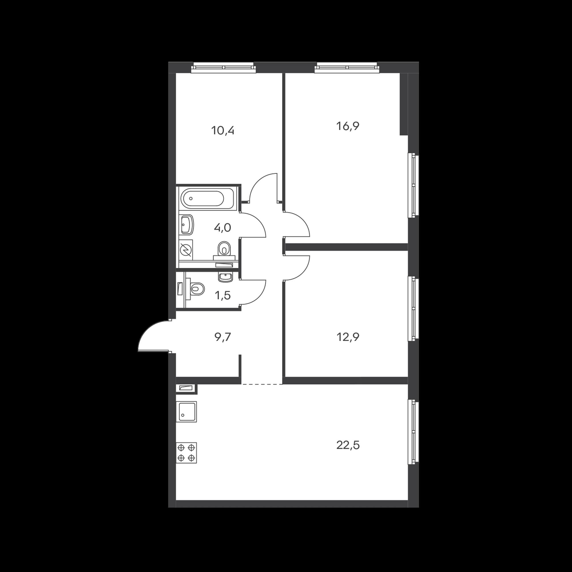 3-комнатная 77.9  м²