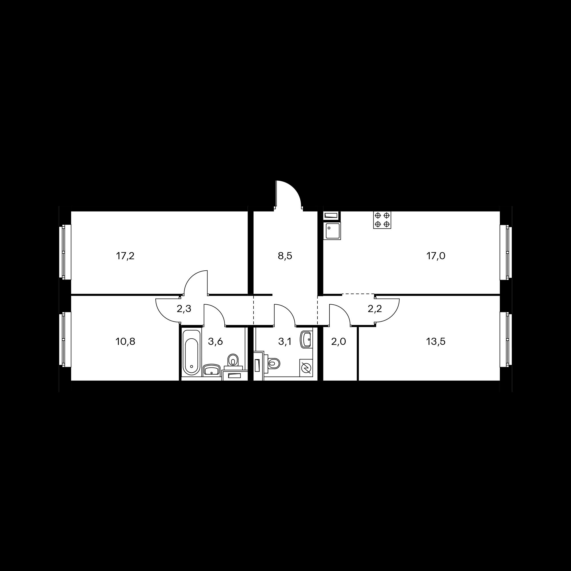 3-комнатная 80.2 м²