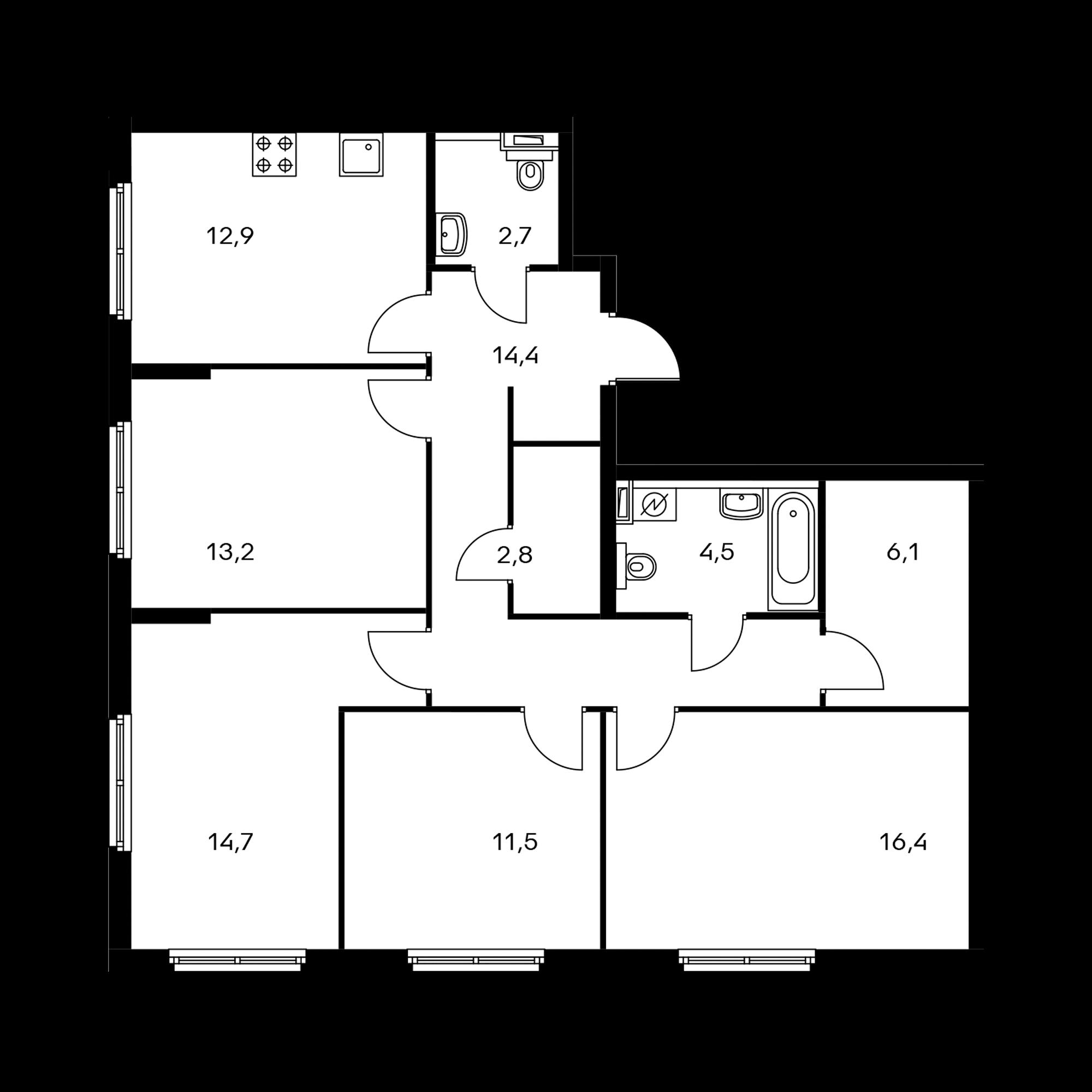 4-комнатная 99.2  м²