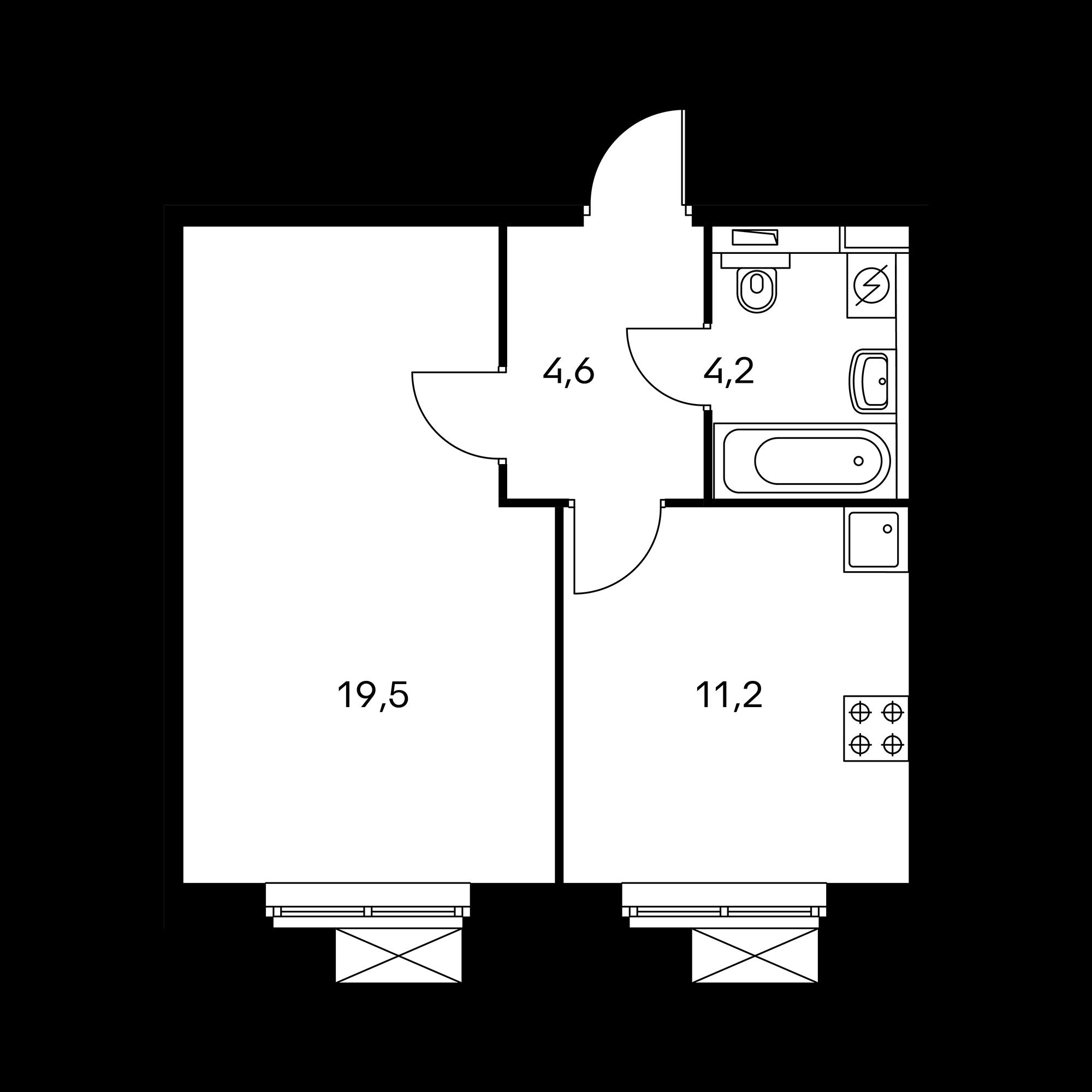 1-комнатная 39.5  м²