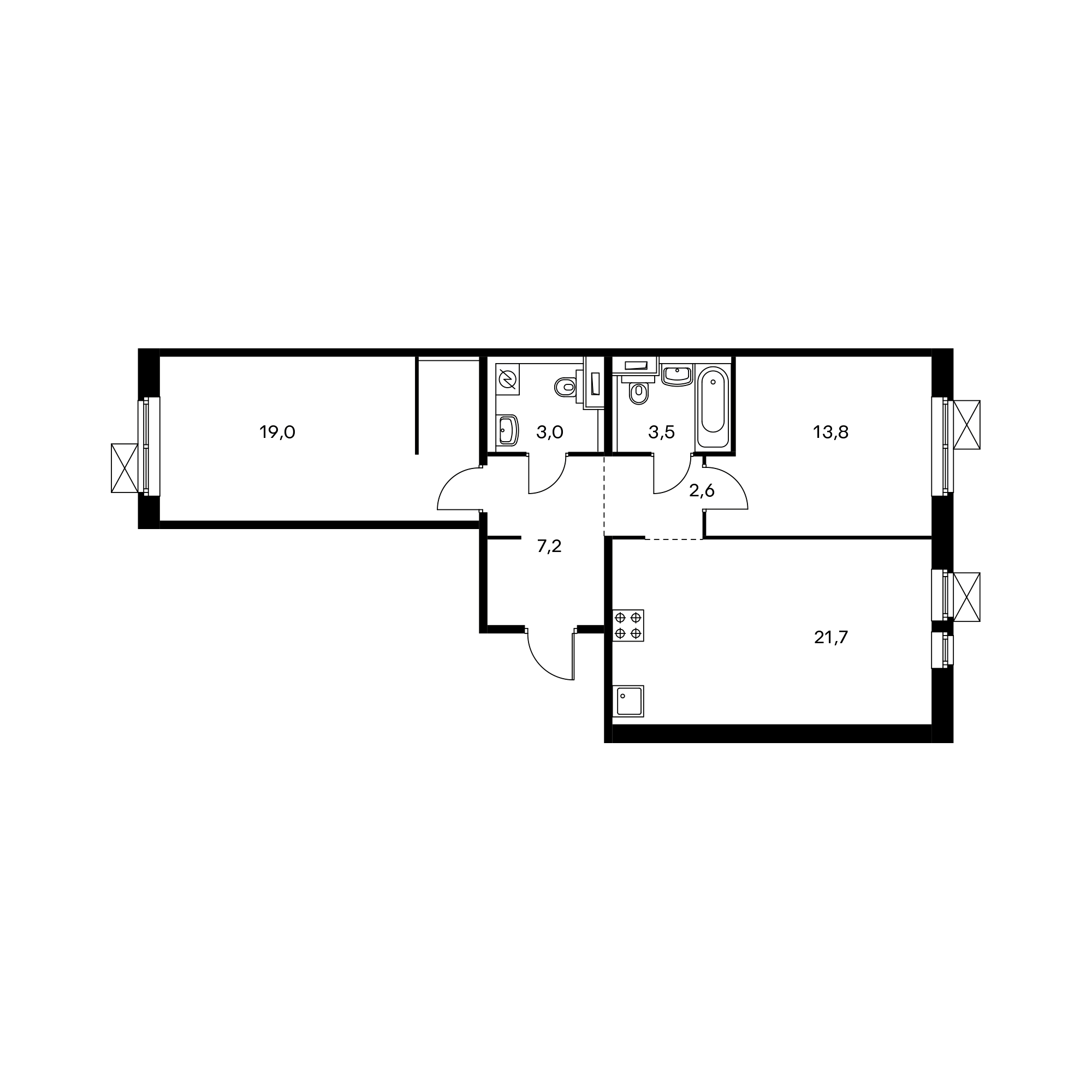 2-комнатная 70.8  м²