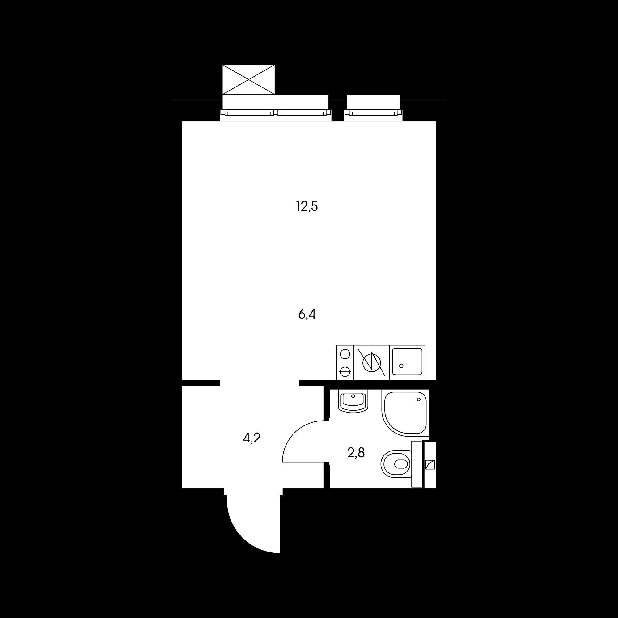 Студия 25.7  м²