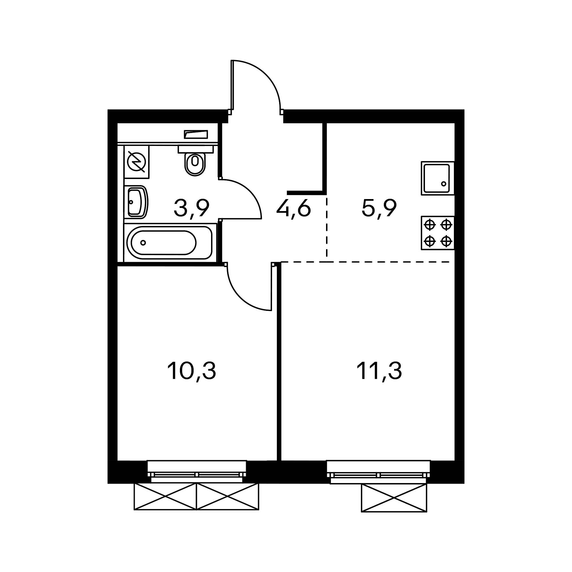 2-комнатная 47.2 м²