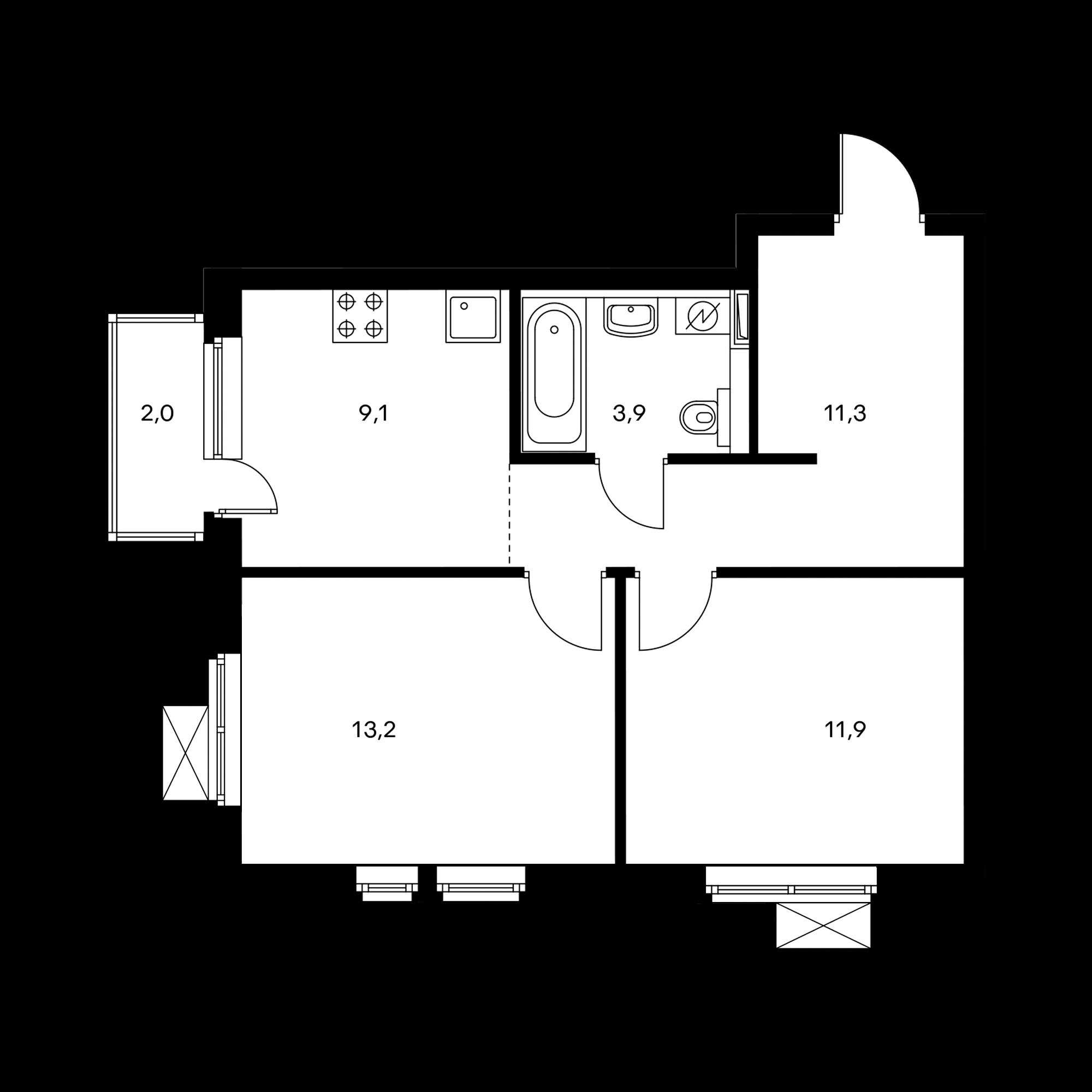 2-комнатная 50 м²