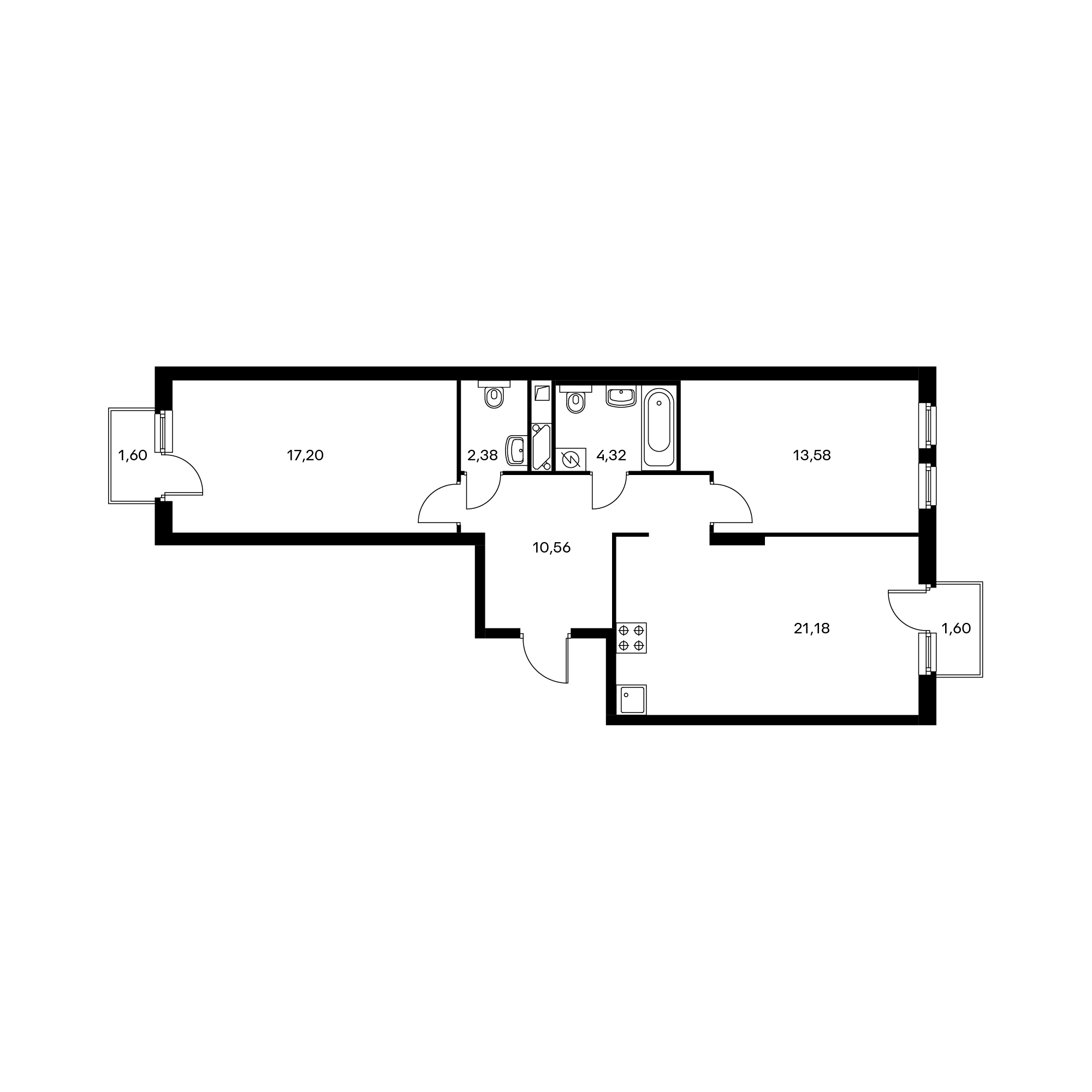 2-комнатная 70.2  м²