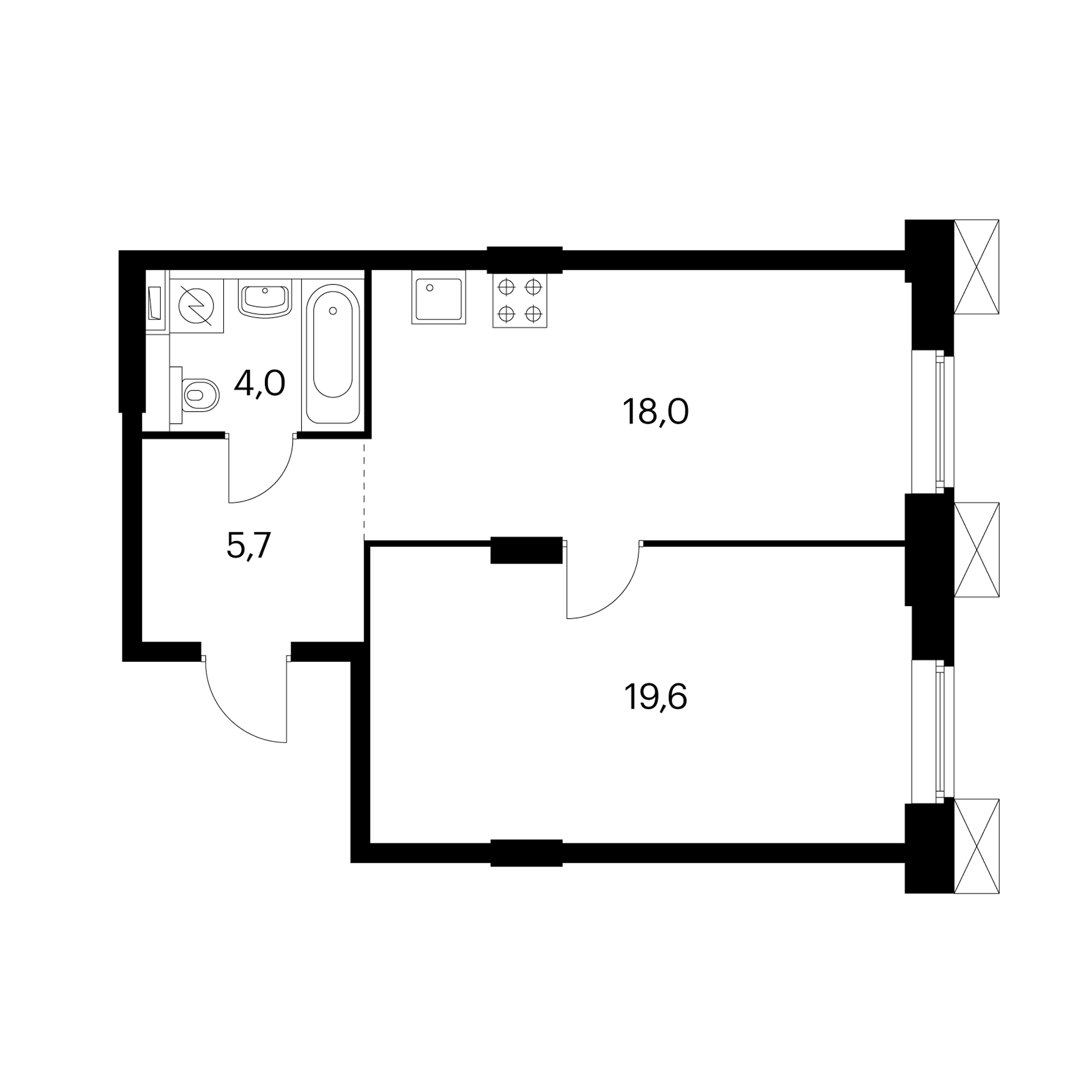1-комнатные 47.3  м²