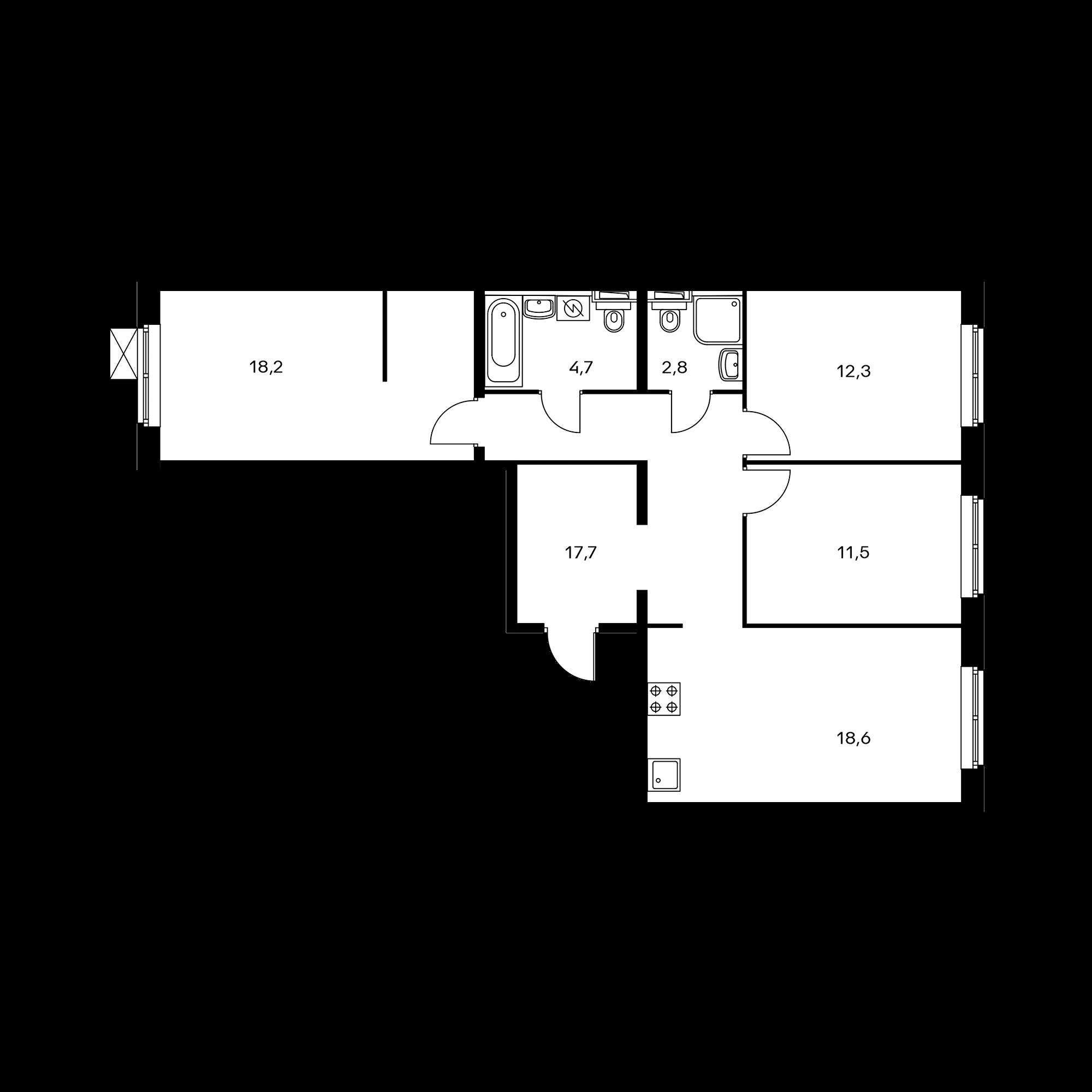3-комнатная 85.8 м²