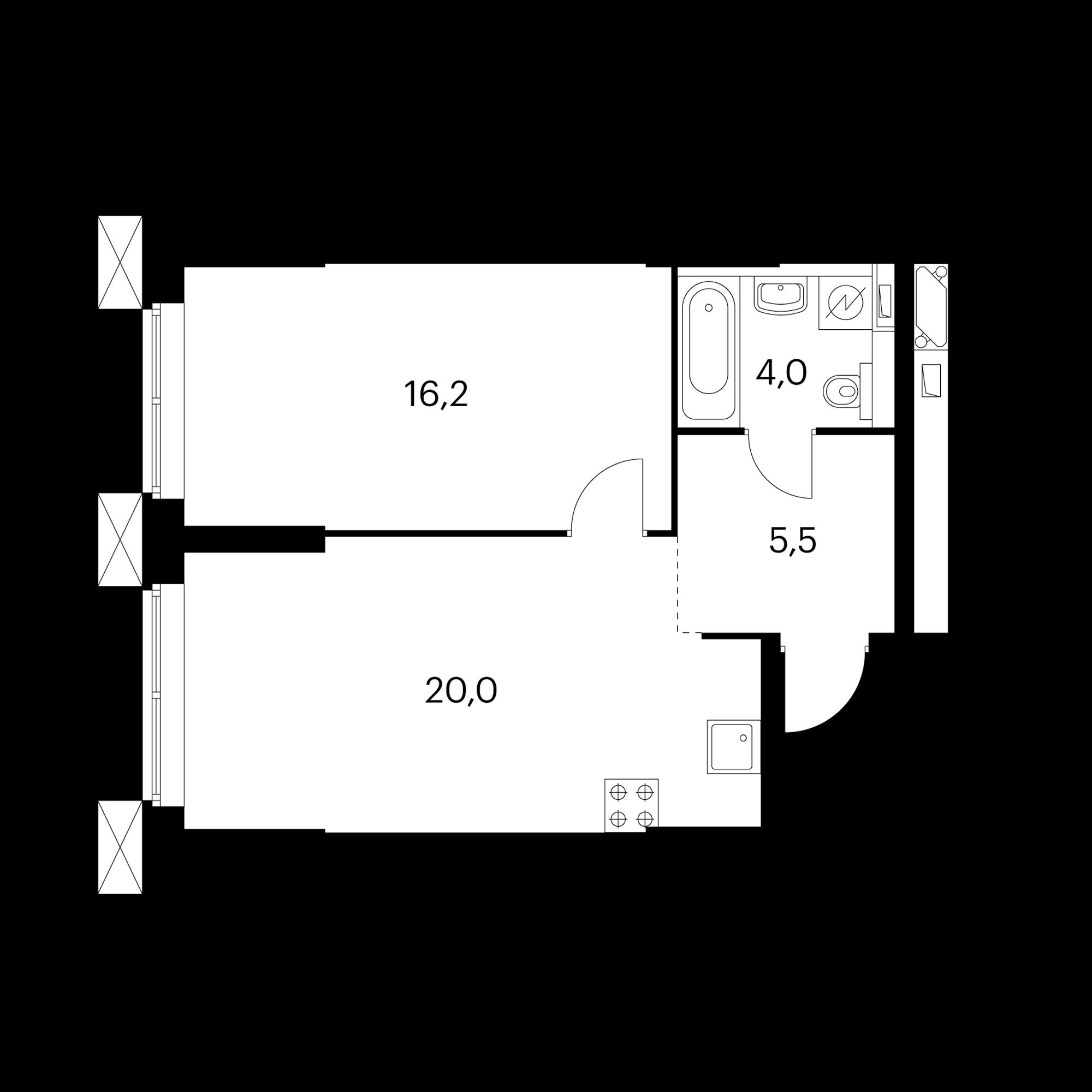 1-комнатные 45.7  м²