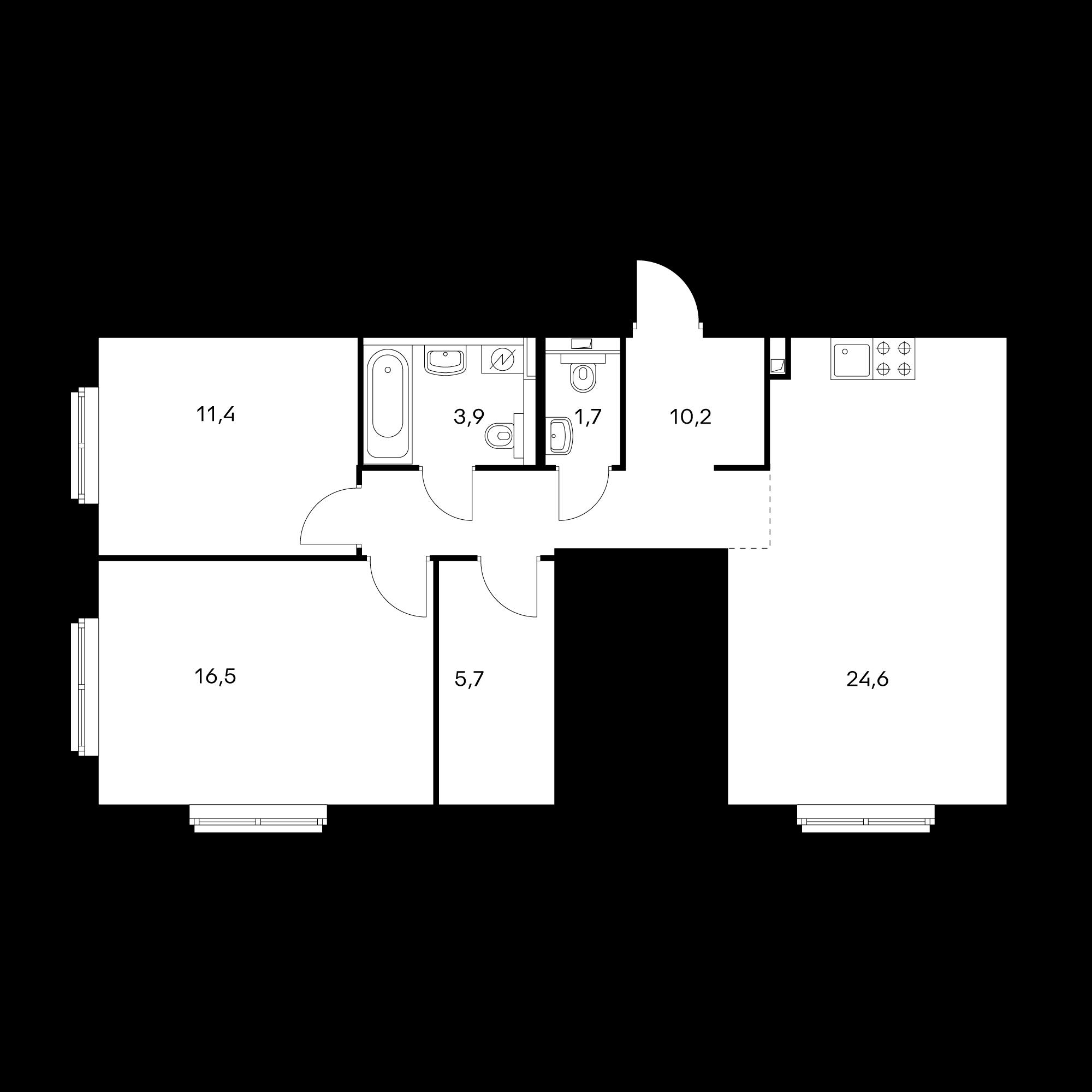 2-комнатная 74 м²