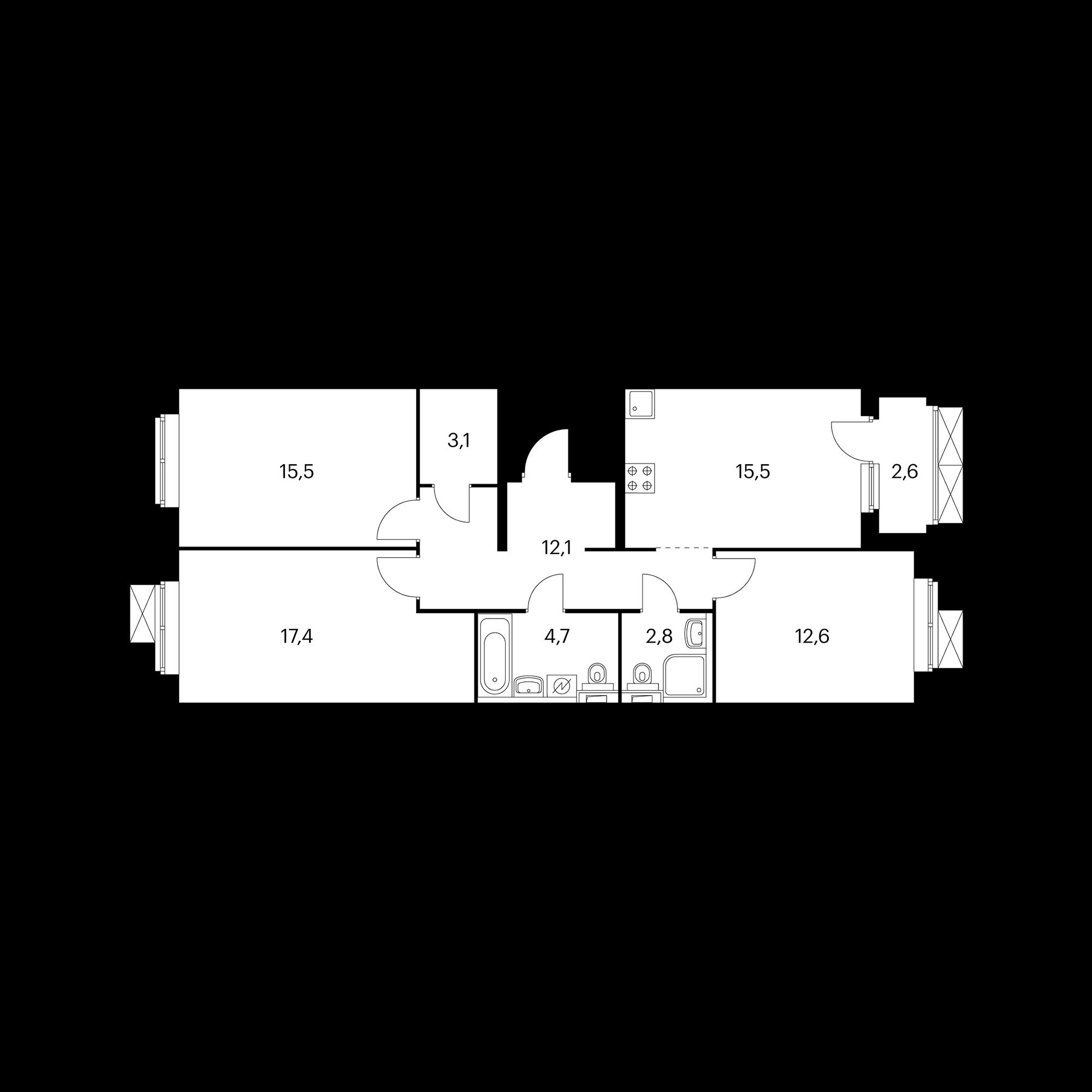 3-комнатная 85  м²
