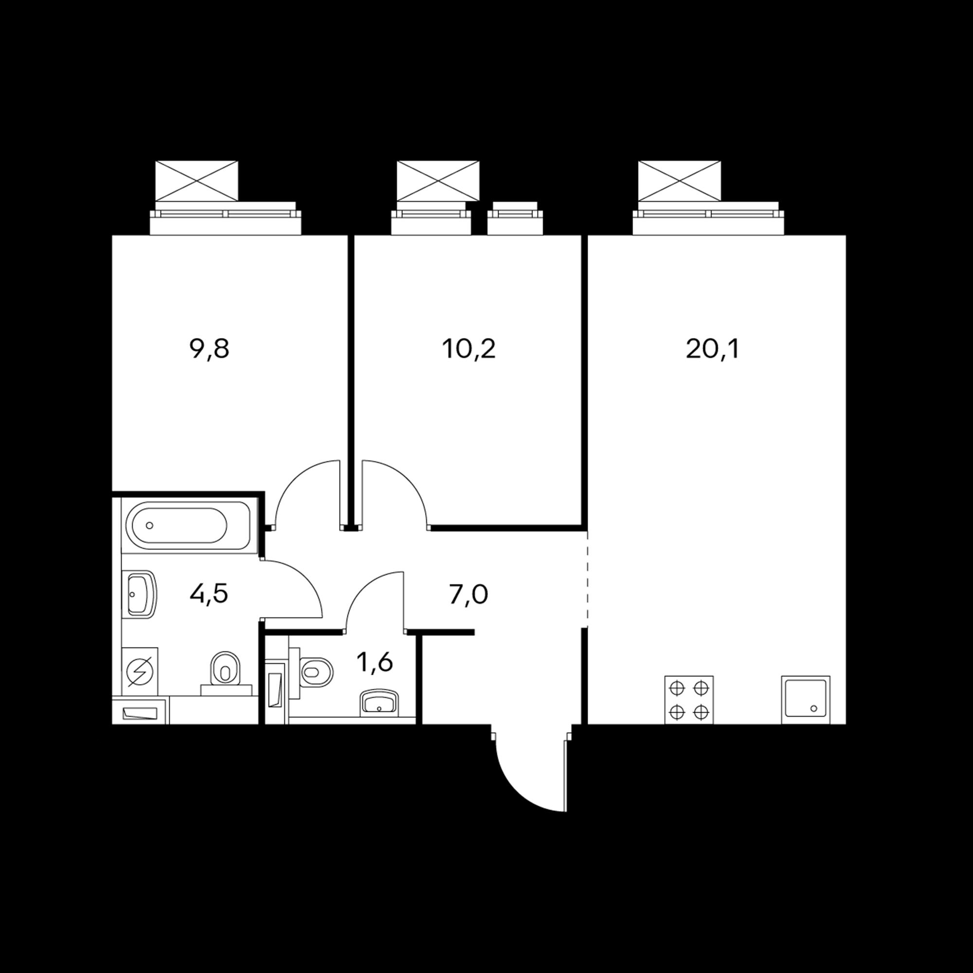 2-комнатная 53.2 м²