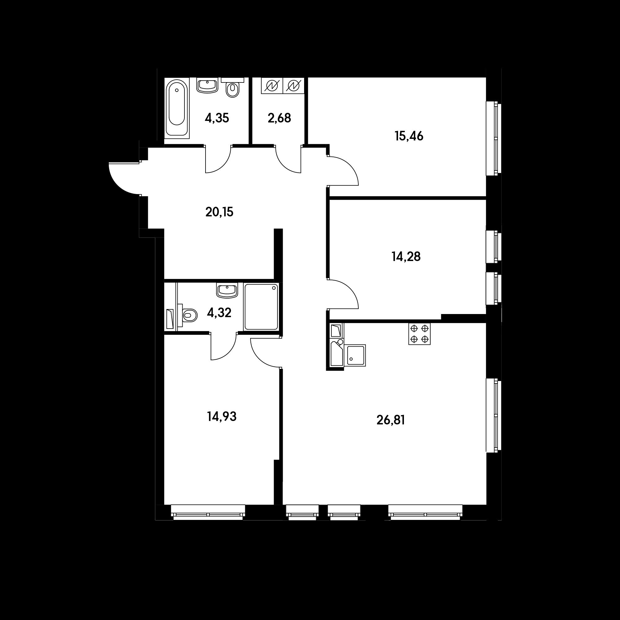 3-комнатная 102.98  м²