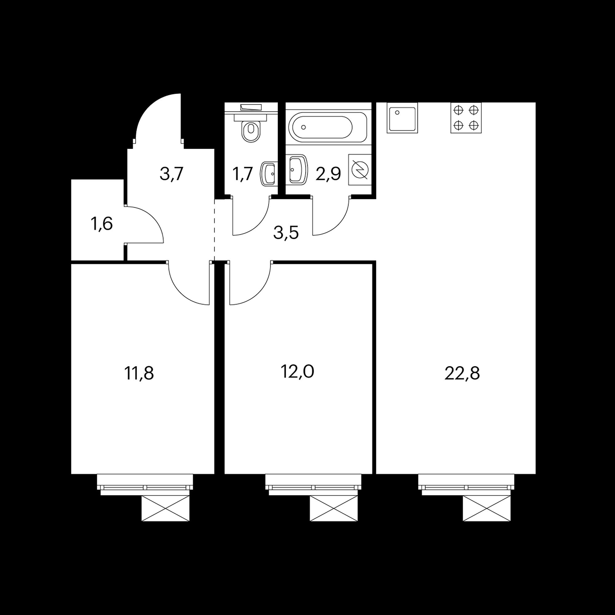 2-комнатная 60.4  м²