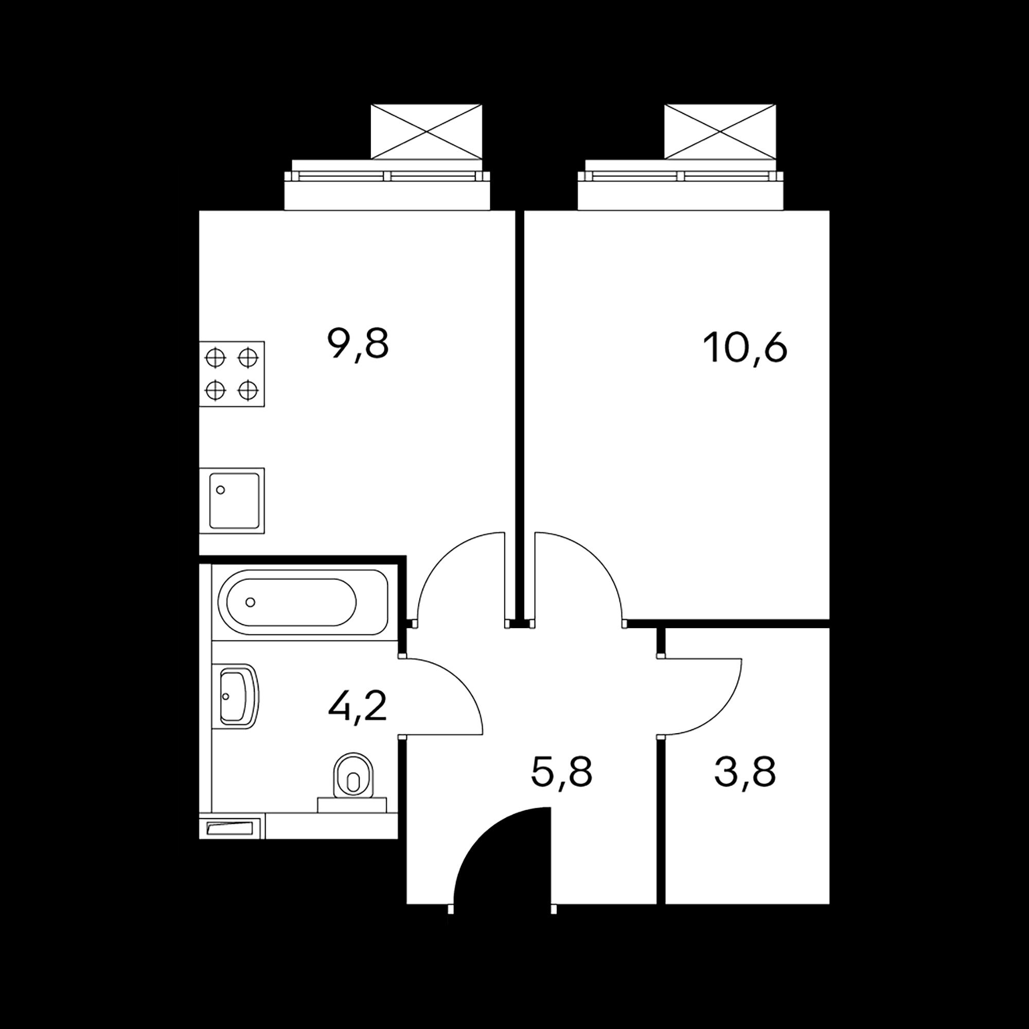 1-комнатные 34.2  м²