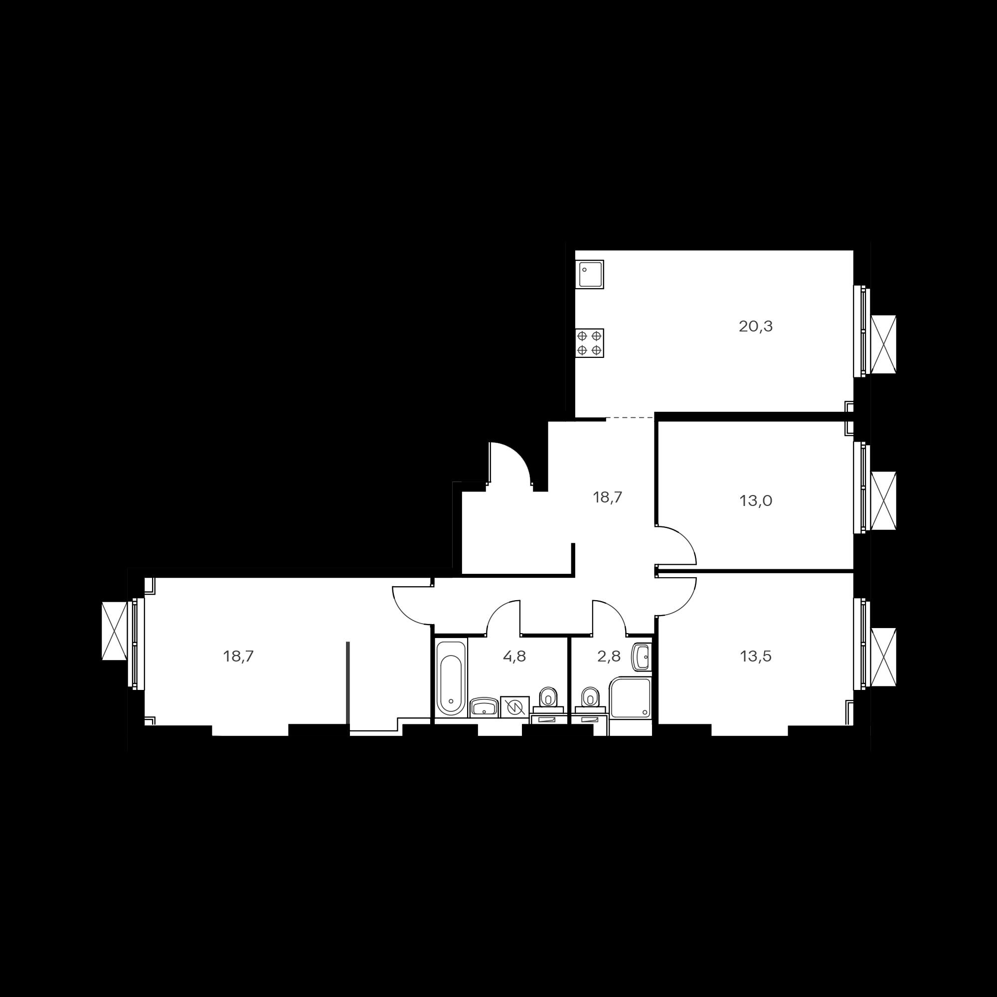 3-комнатная 91.8 м²