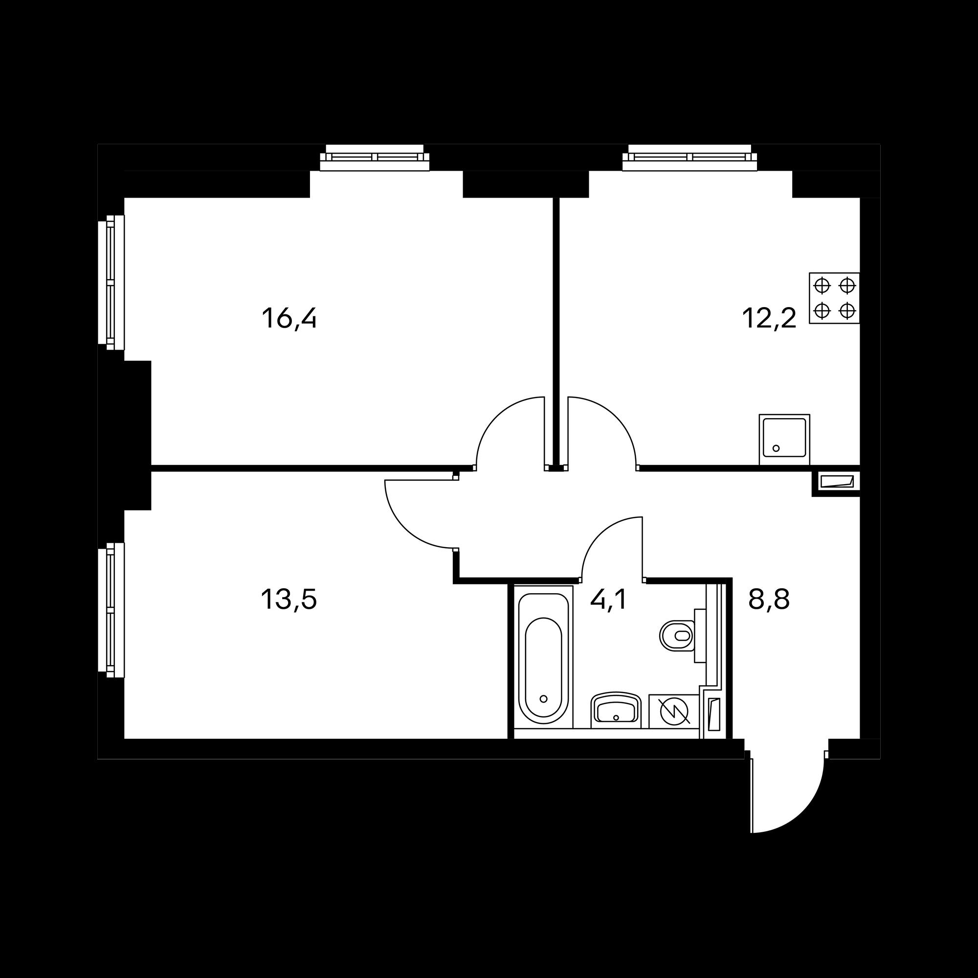 2-комнатная 55 м²