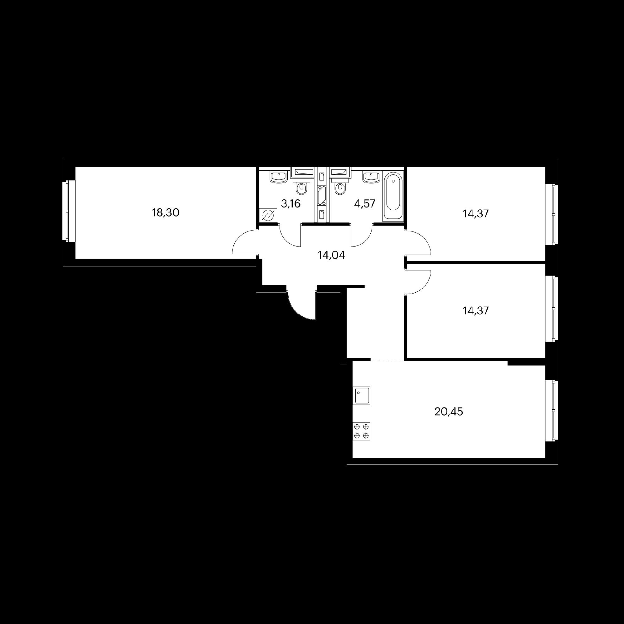 3-комнатная 89.26  м²