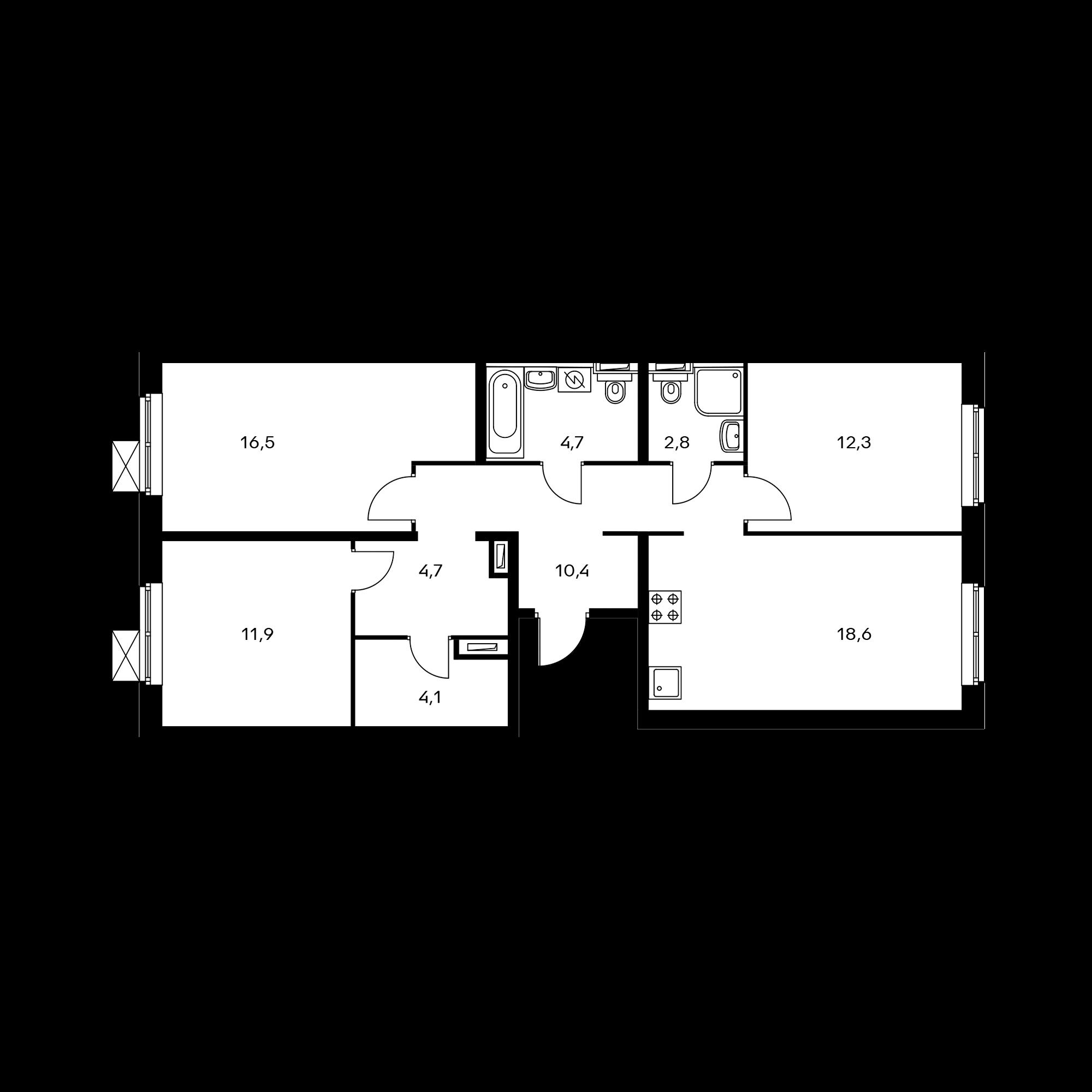3-комнатная 85.5 м²