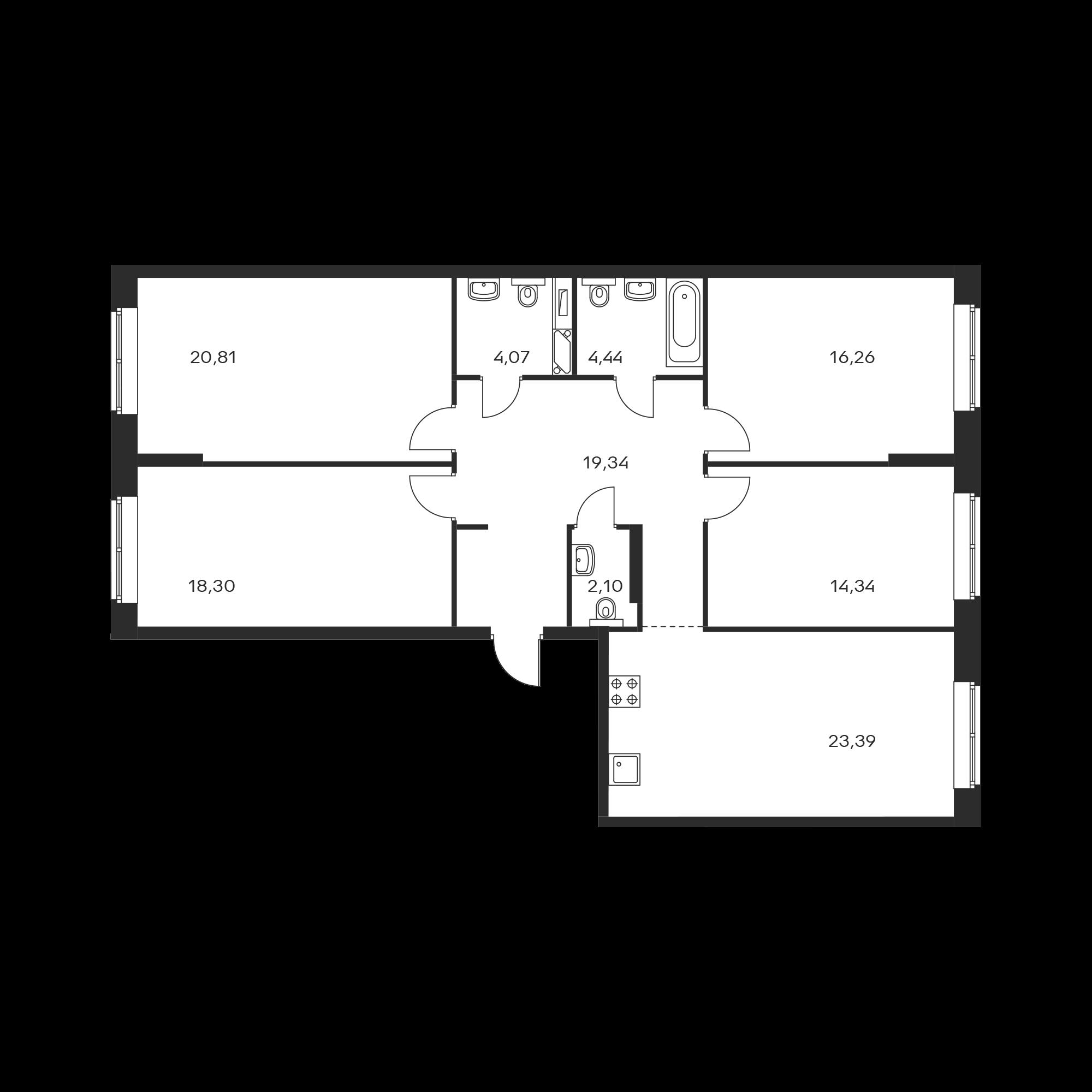 4-комнатная 123.05 м²
