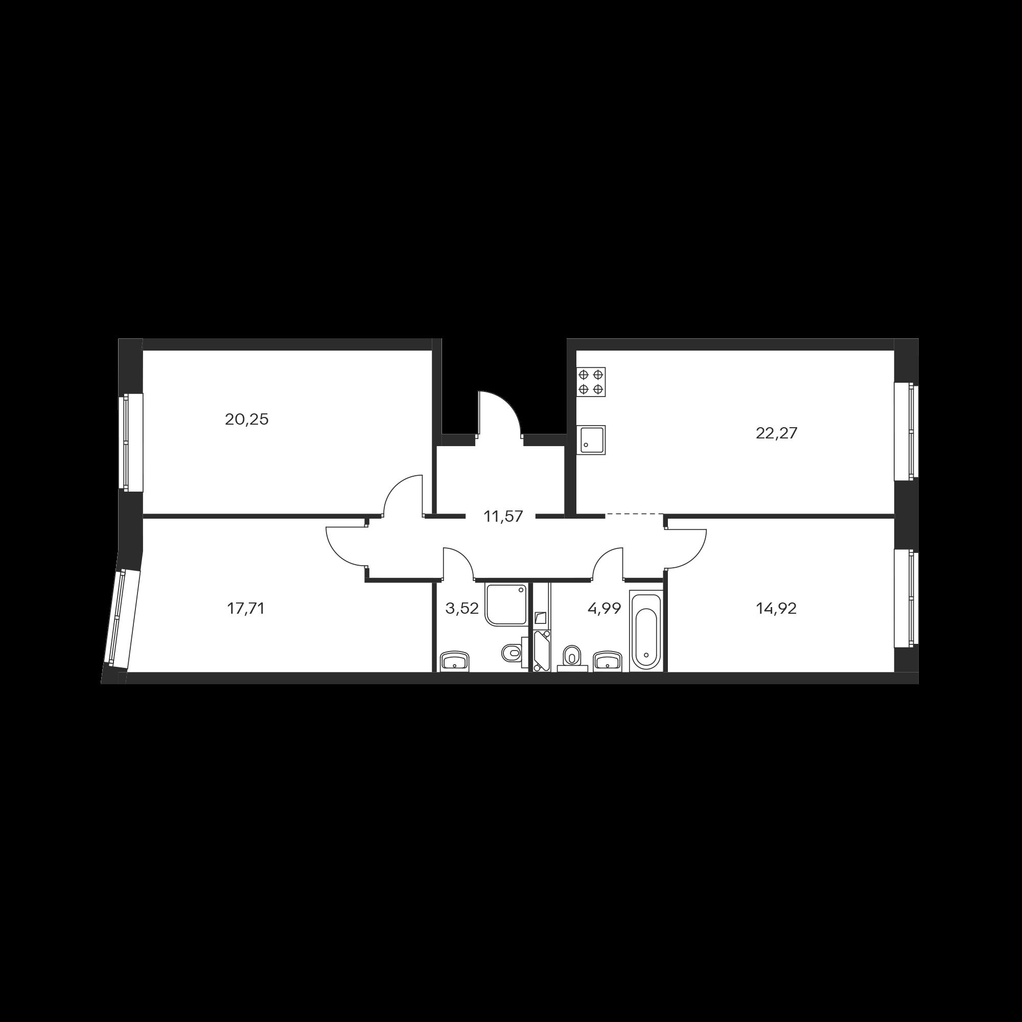 3-комнатная 95.23 м²