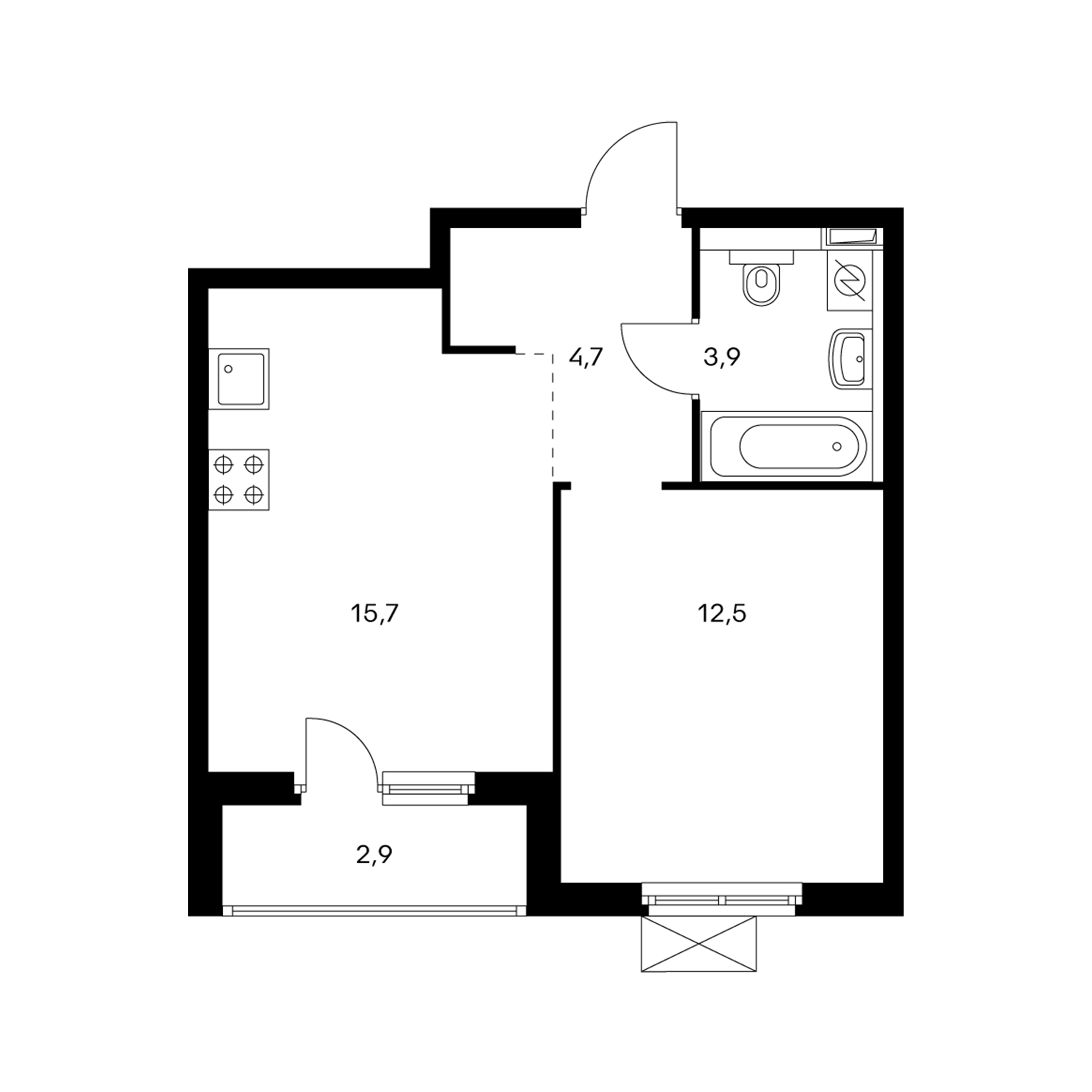 1-комнатная 38.3 м²