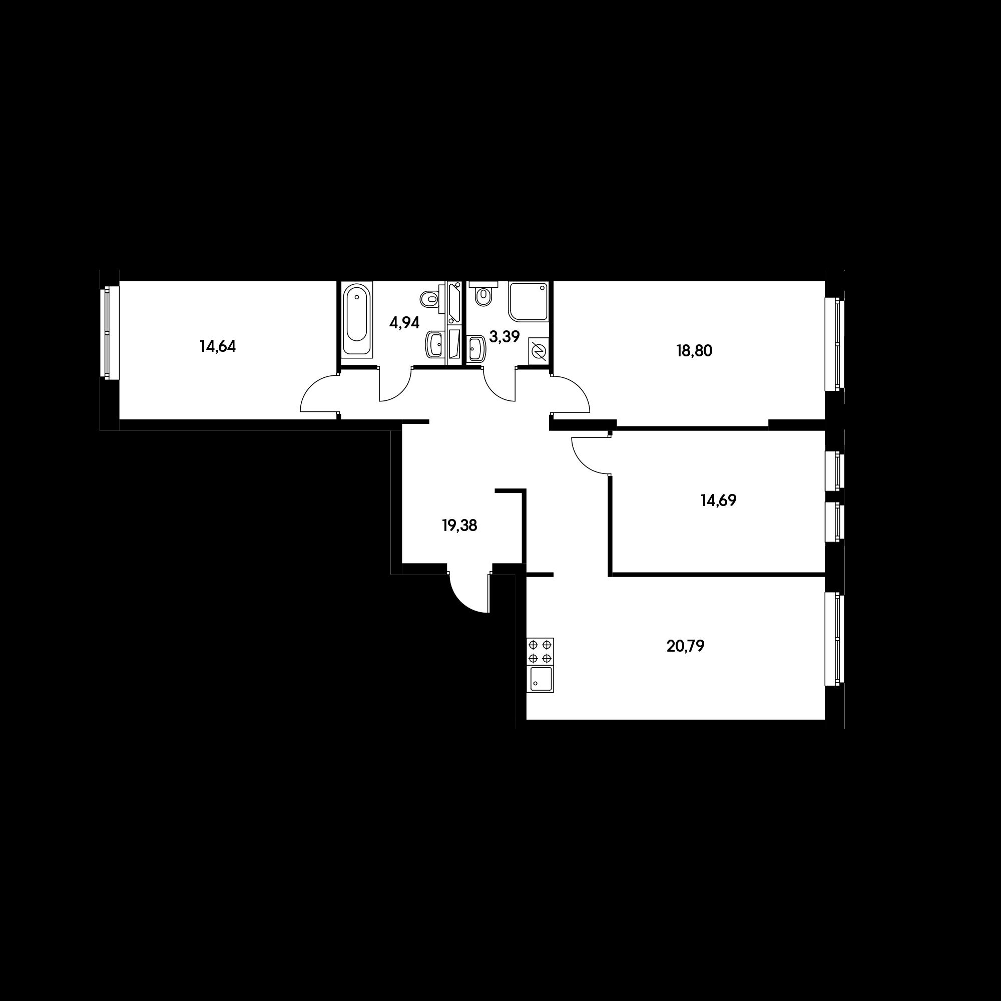 3-комнатная 96.63 м²