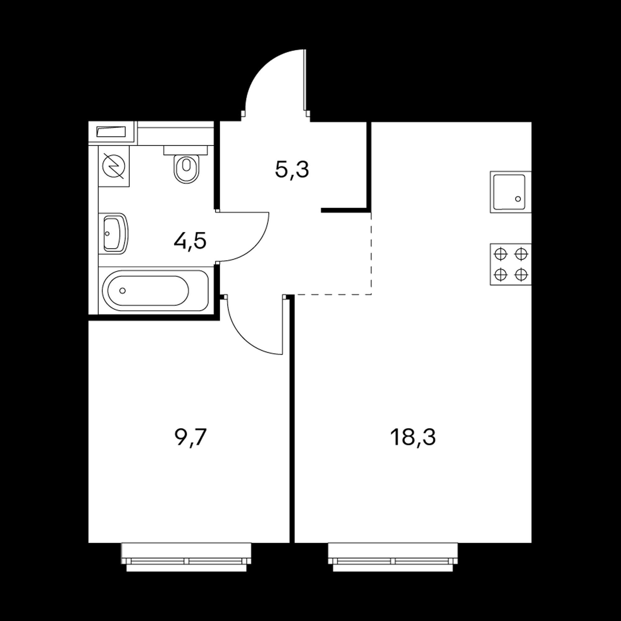 1-комнатная 37.7  м²