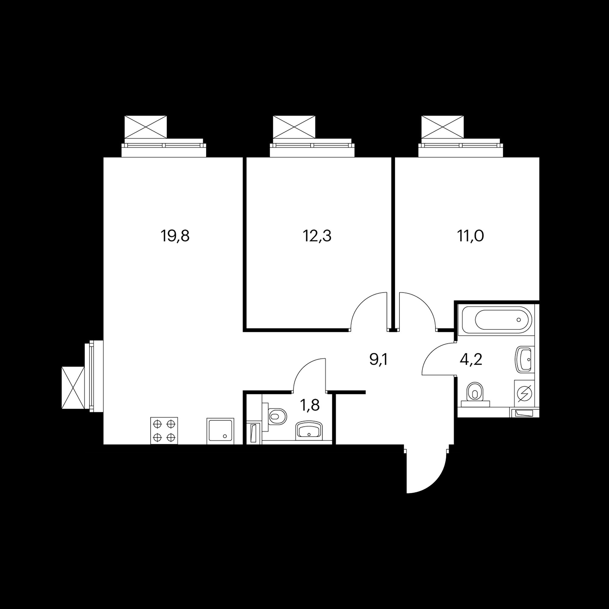 2-комнатная 58.3 м²