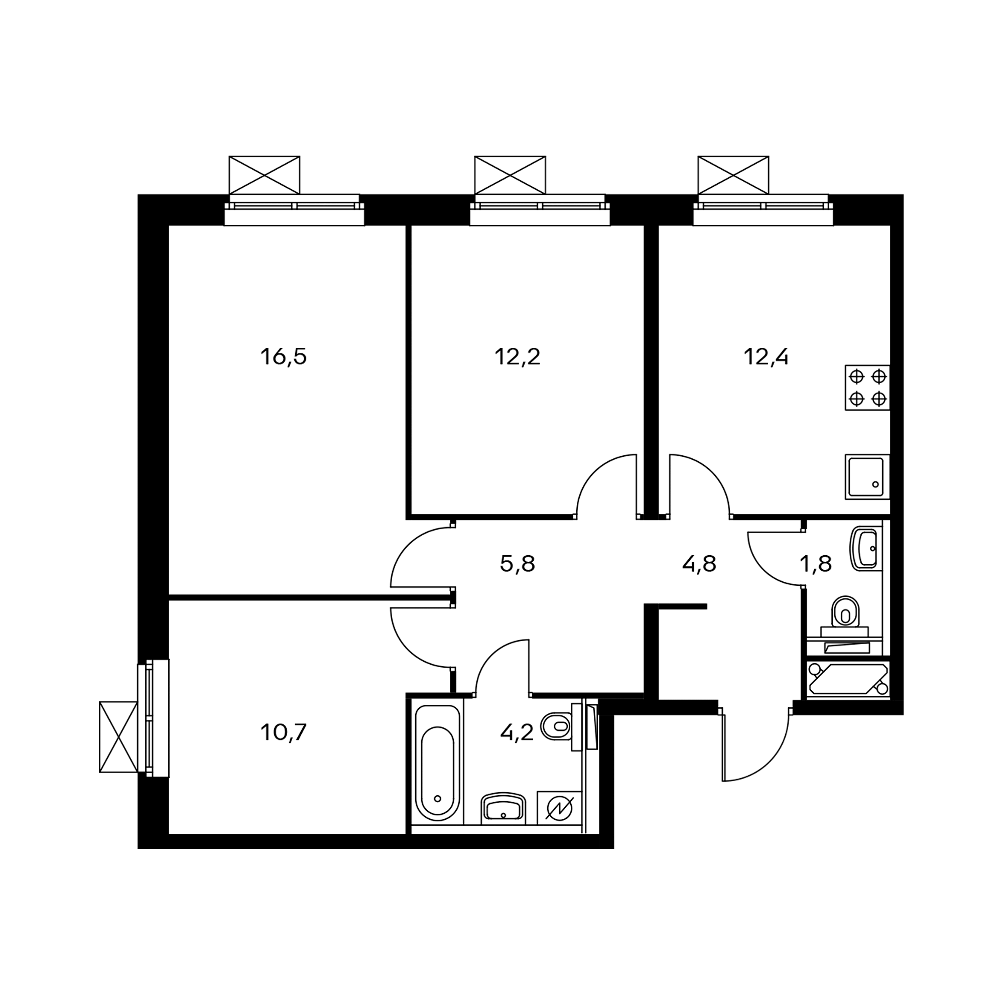 3-комнатная 68.8  м²