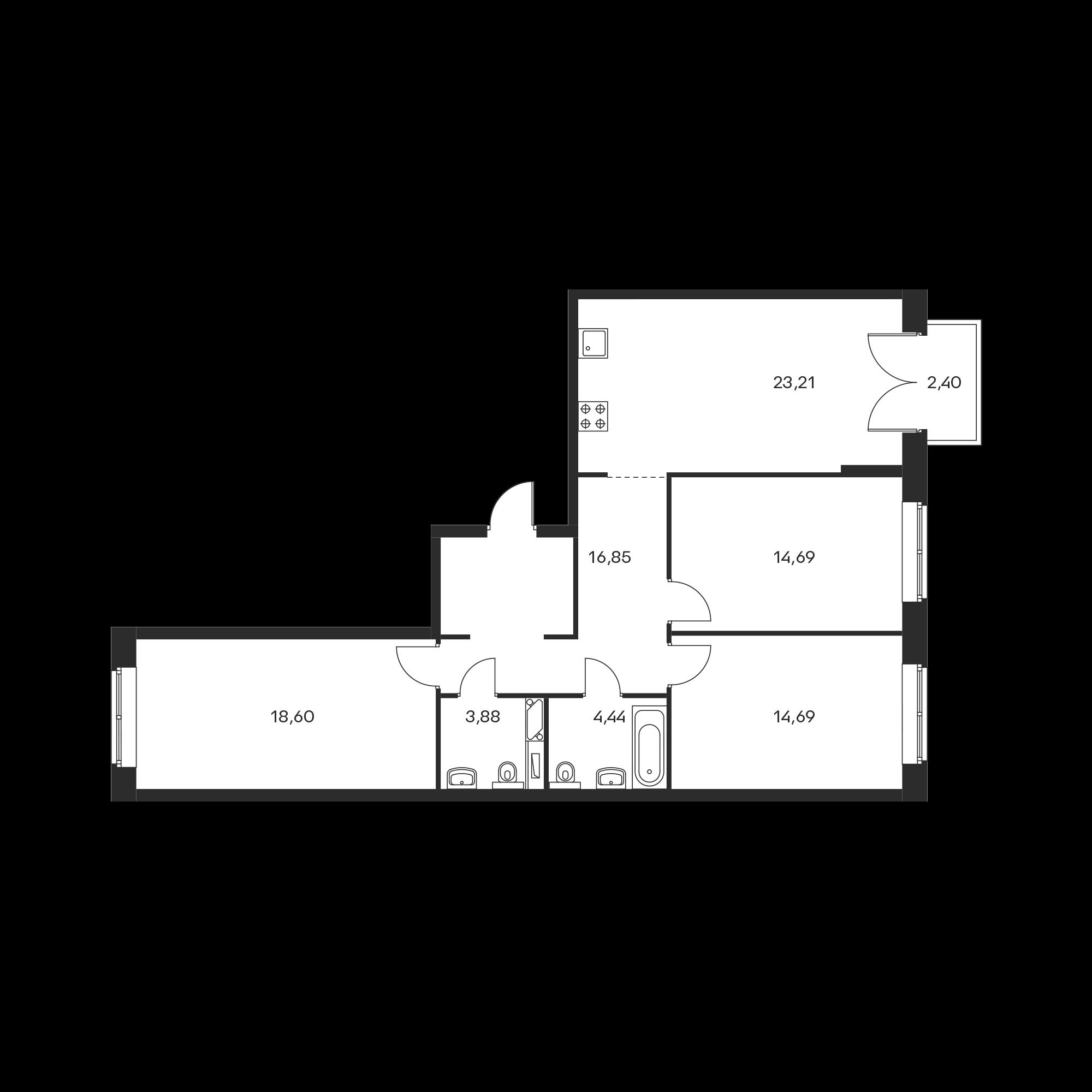 3-комнатная 97.08  м²