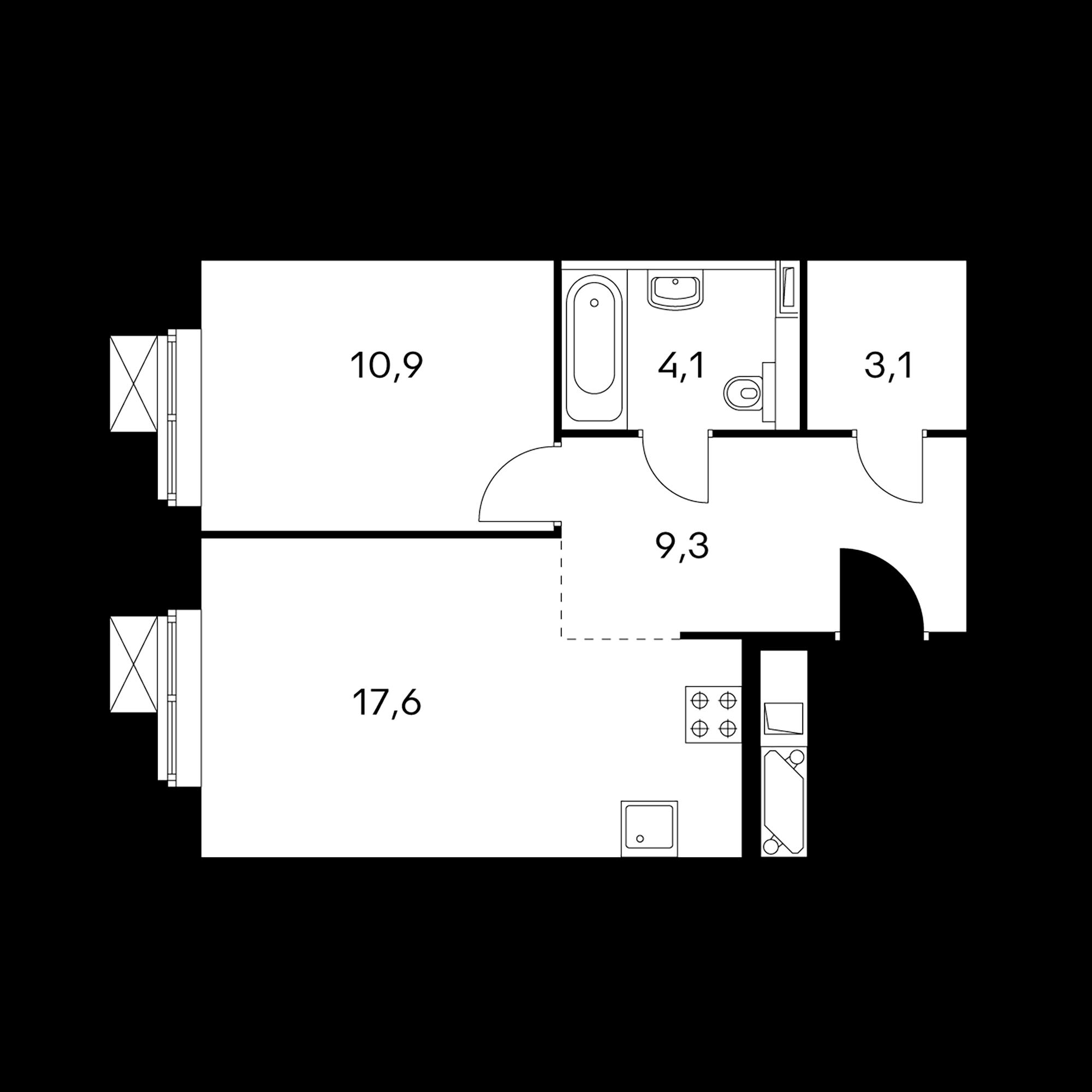 1-комнатные 45 м²