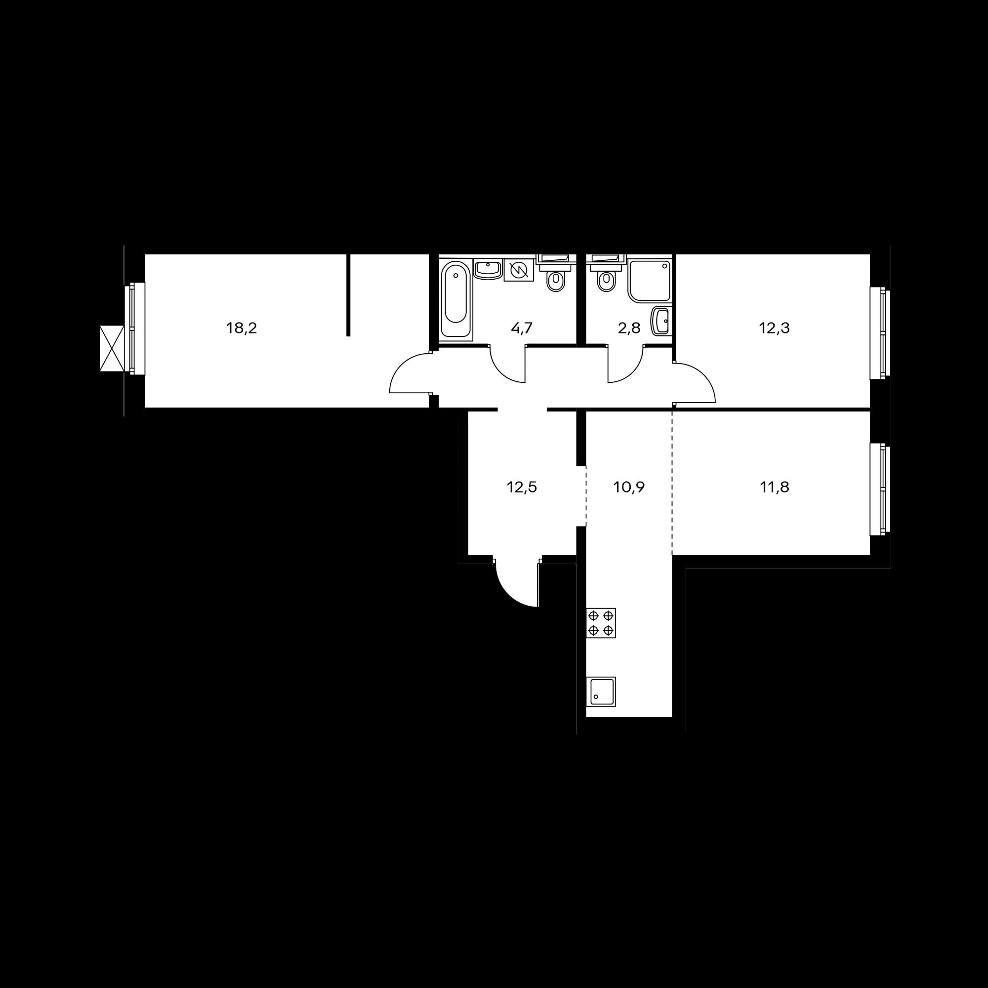 3-комнатная 73.2 м²