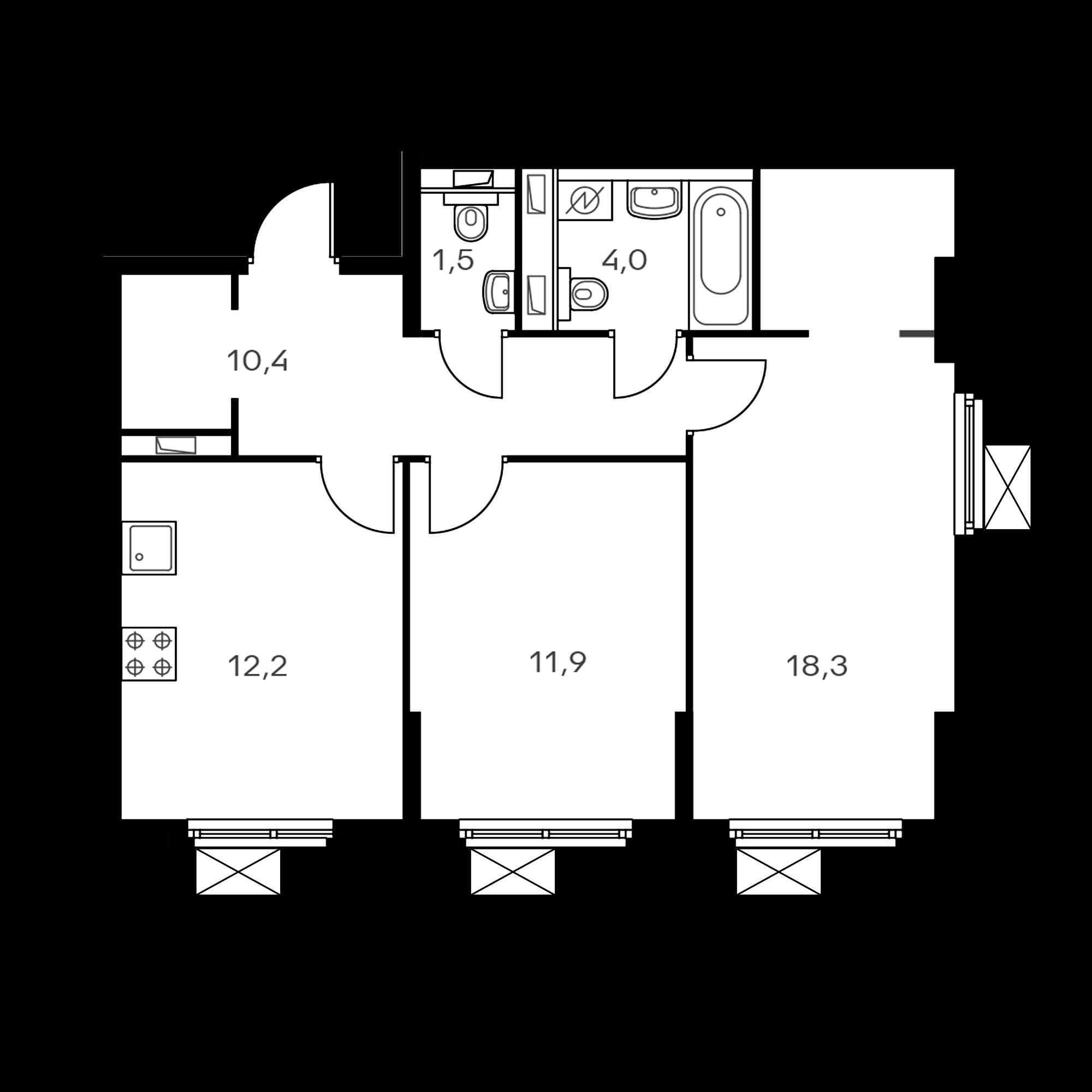 2-комнатная 59.4  м²